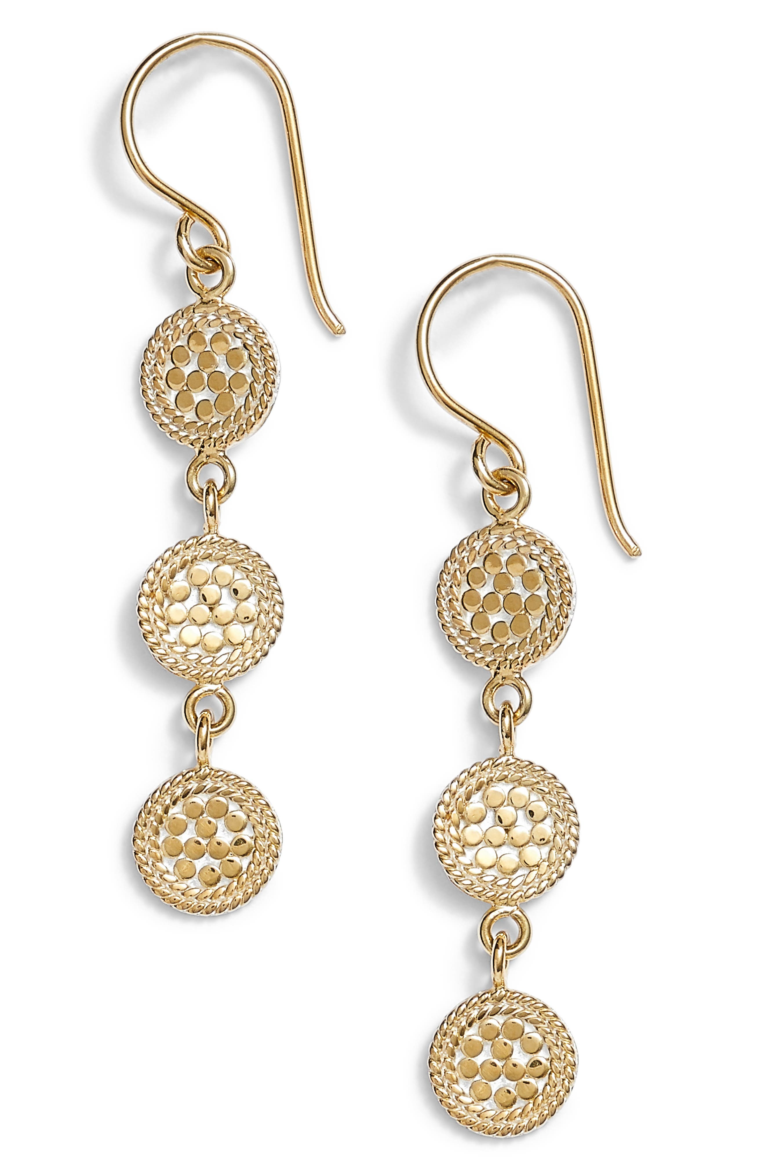 Gold Plate Triple Disc Drop Earrings,                         Main,                         color, GOLD