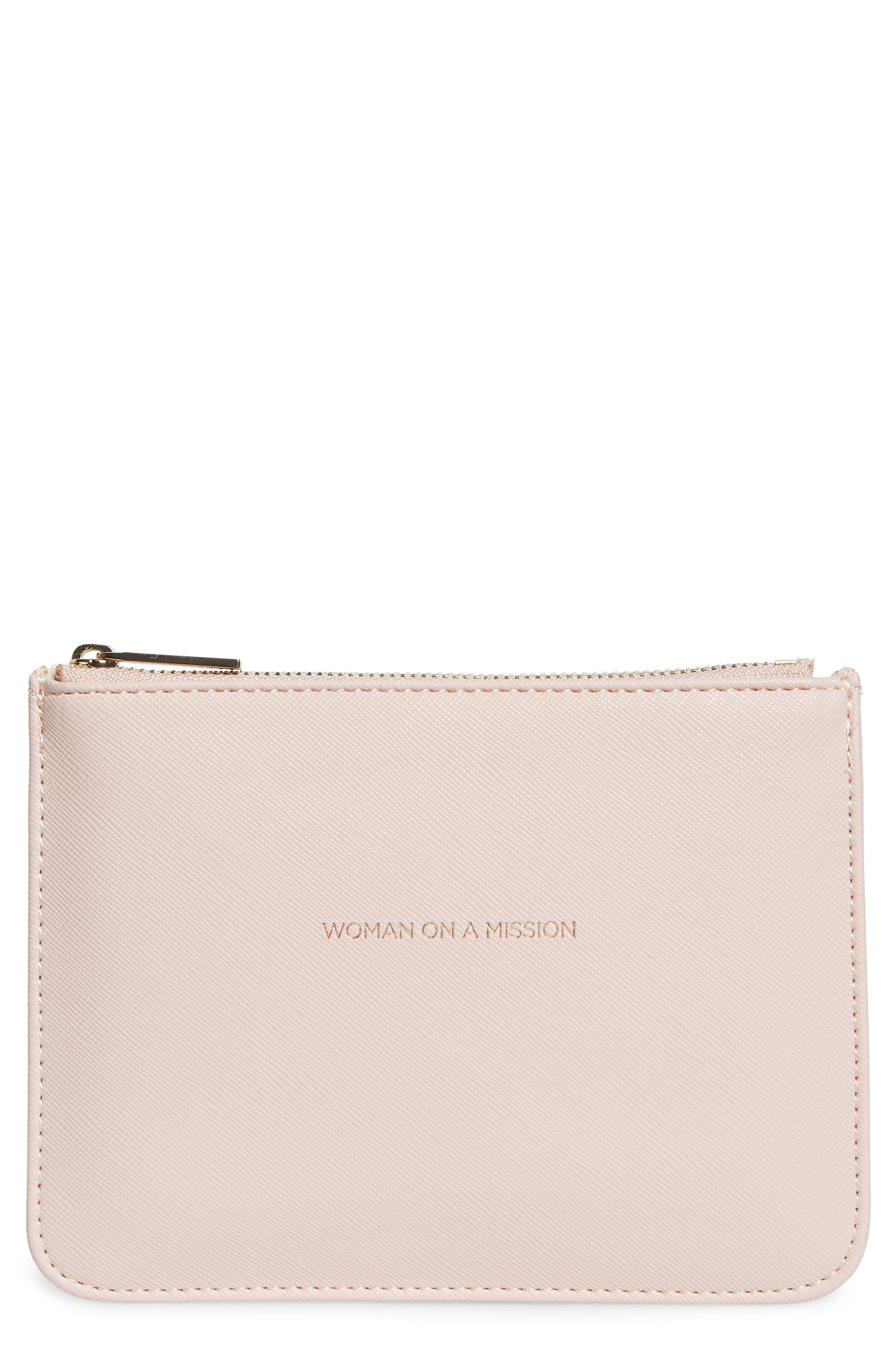 Small Faux Leather Zip Pouch,                             Main thumbnail 1, color,                             BLUSH - WOMAN ON A MISSION
