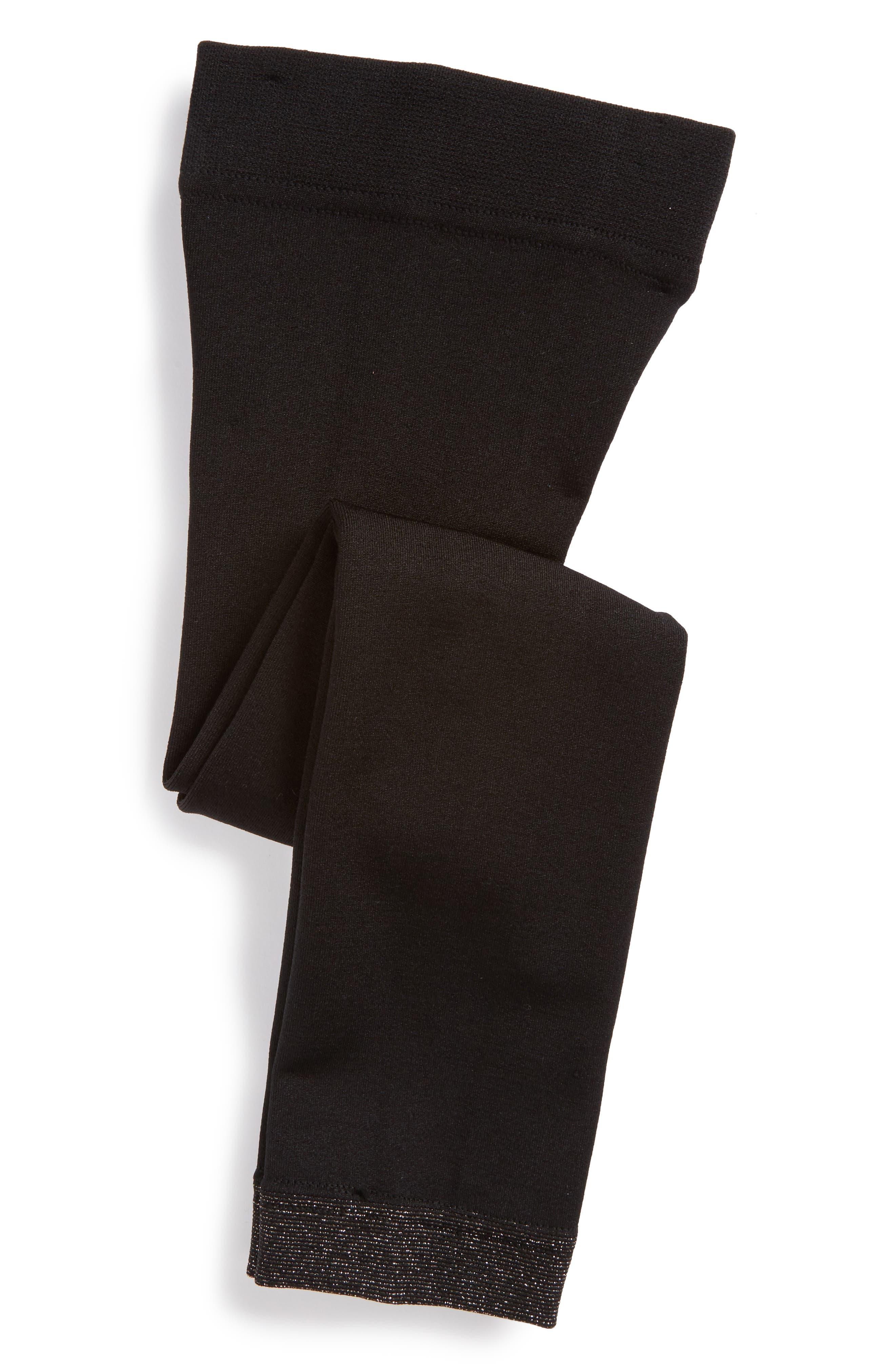 Fleece Lined Tights,                             Alternate thumbnail 2, color,                             BLACK