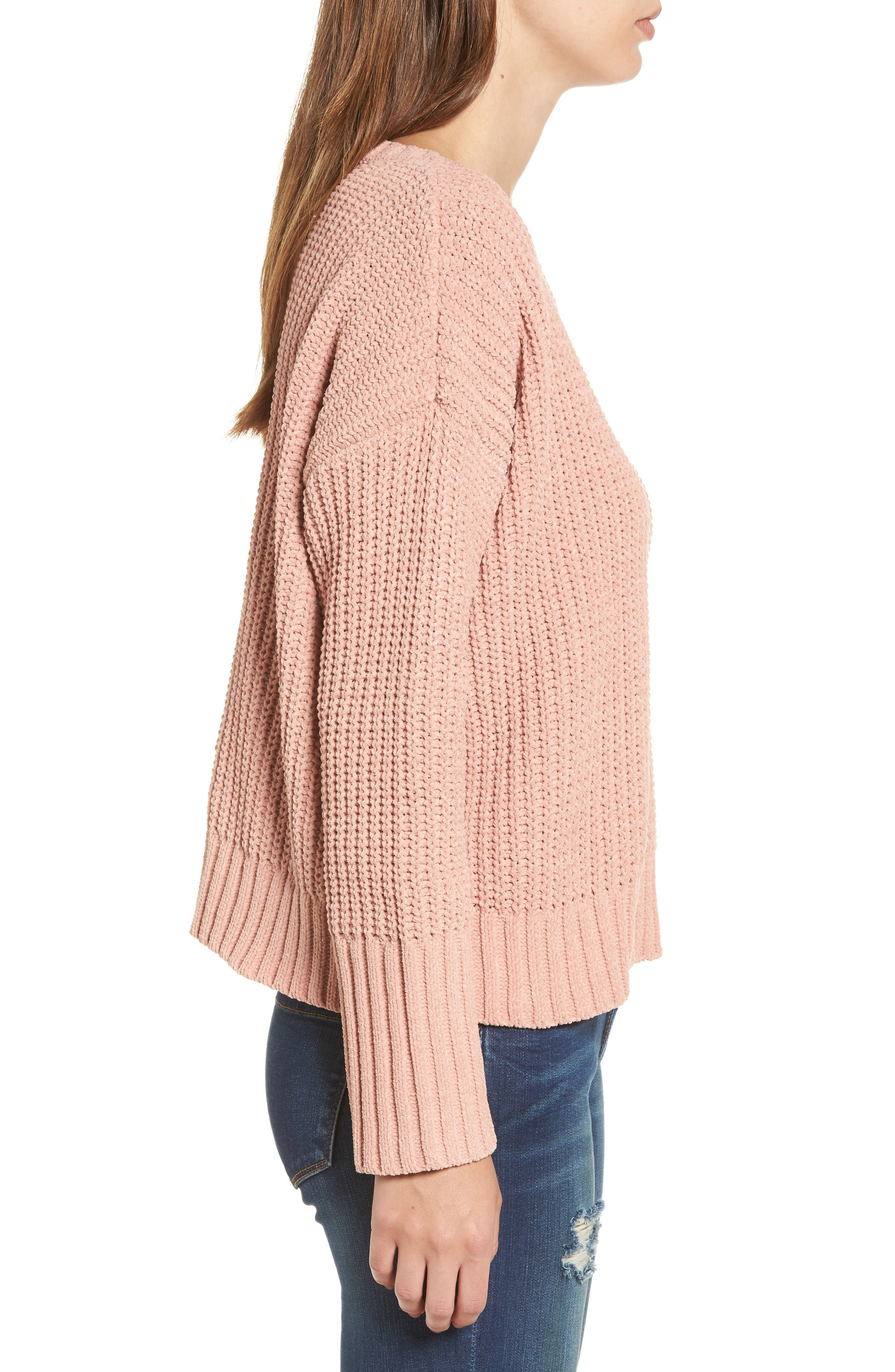 Drop Shoulder Chunky Knit Sweater,                             Alternate thumbnail 3, color,                             650