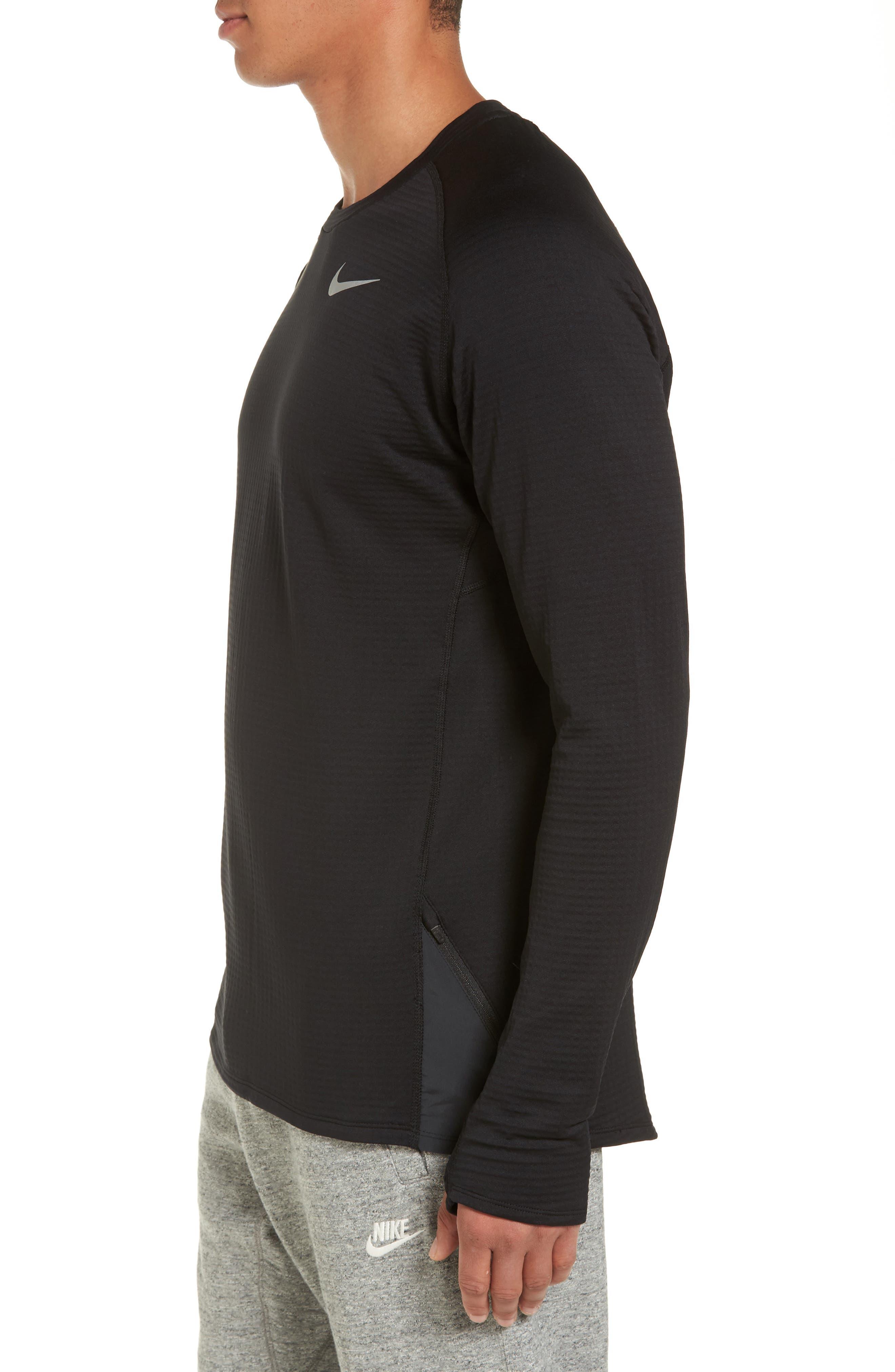 ThermaSphere Long Sleeve Running T-Shirt,                             Alternate thumbnail 3, color,                             011