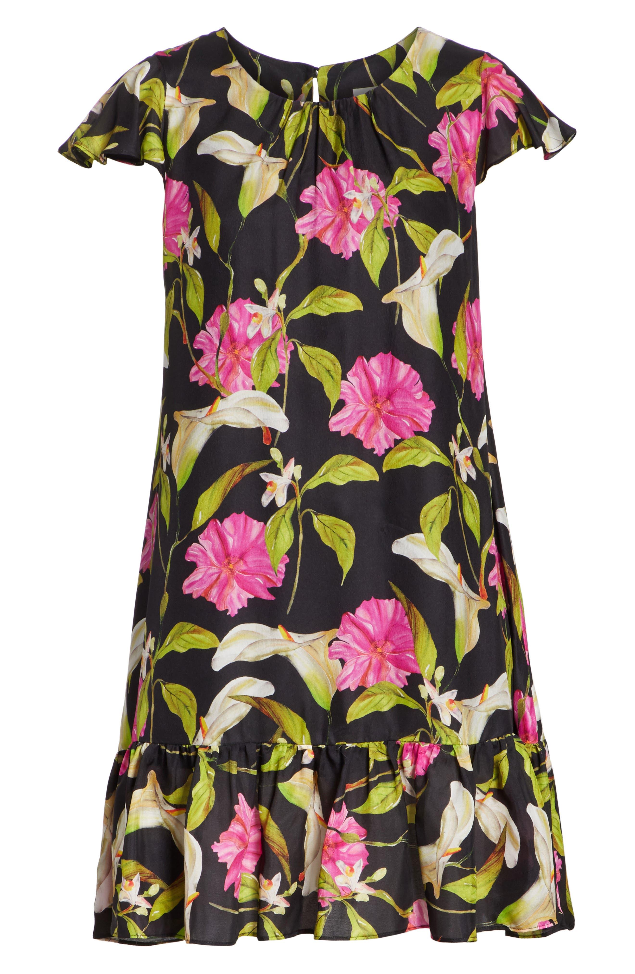 Jill Large Calla Lily Shift Dress,                             Alternate thumbnail 6, color,                             004
