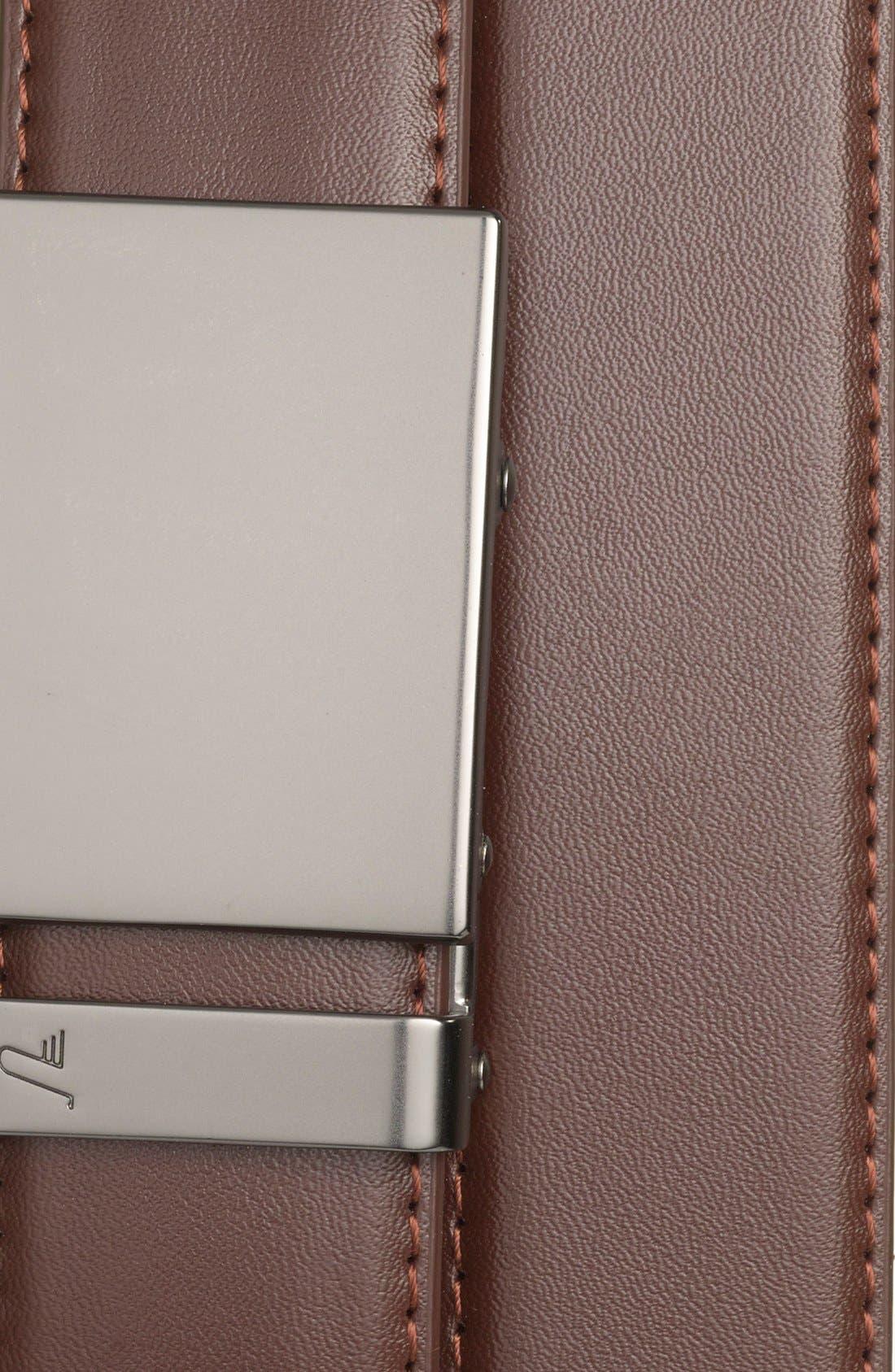 MISSION BELT,                             'Gun Metal' Leather Belt,                             Alternate thumbnail 2, color,                             GUNMETAL/ CHOCOLATE