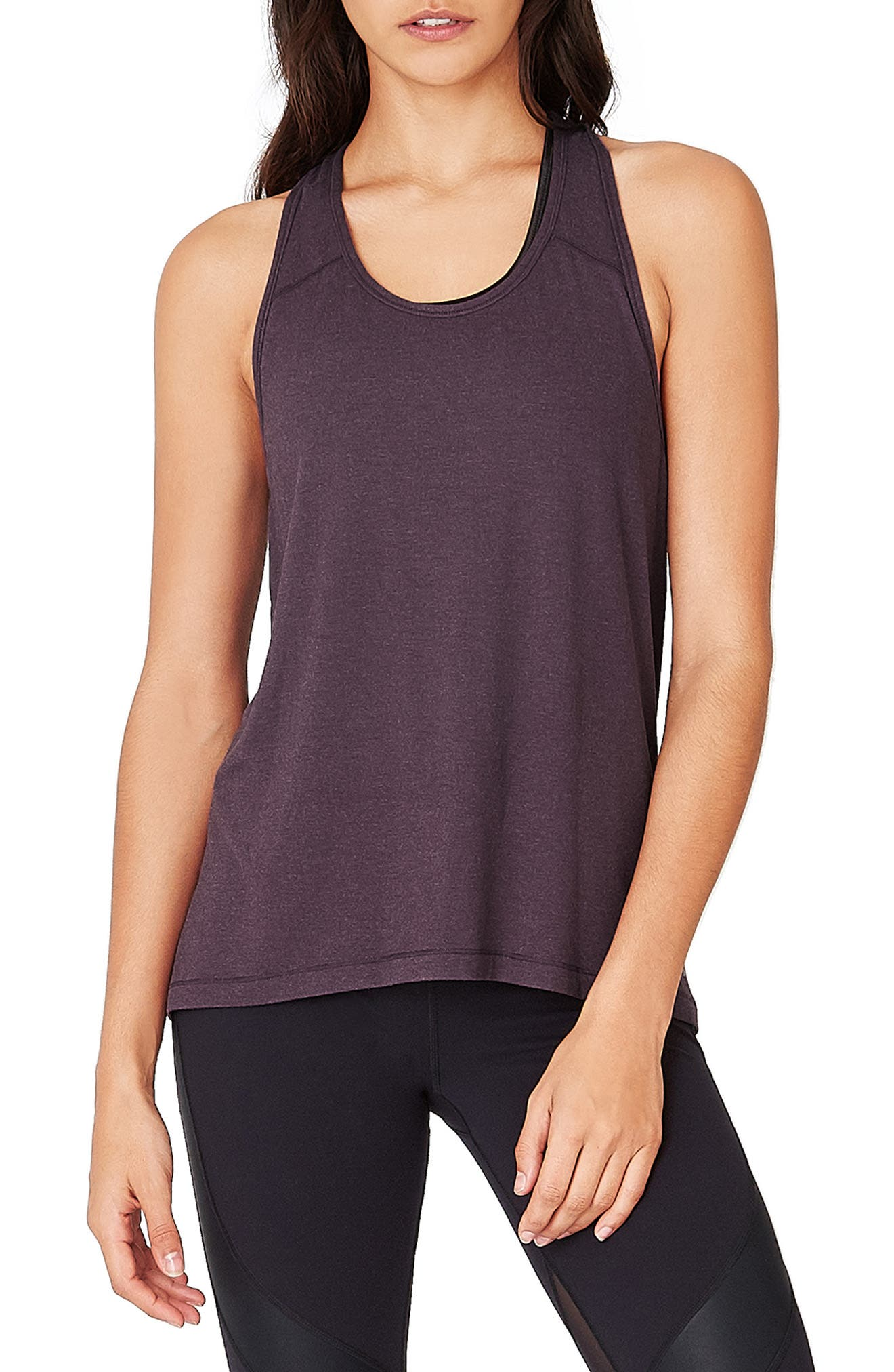 Compound Jersey Tank,                             Main thumbnail 1, color,                             AUBERGINE MARL
