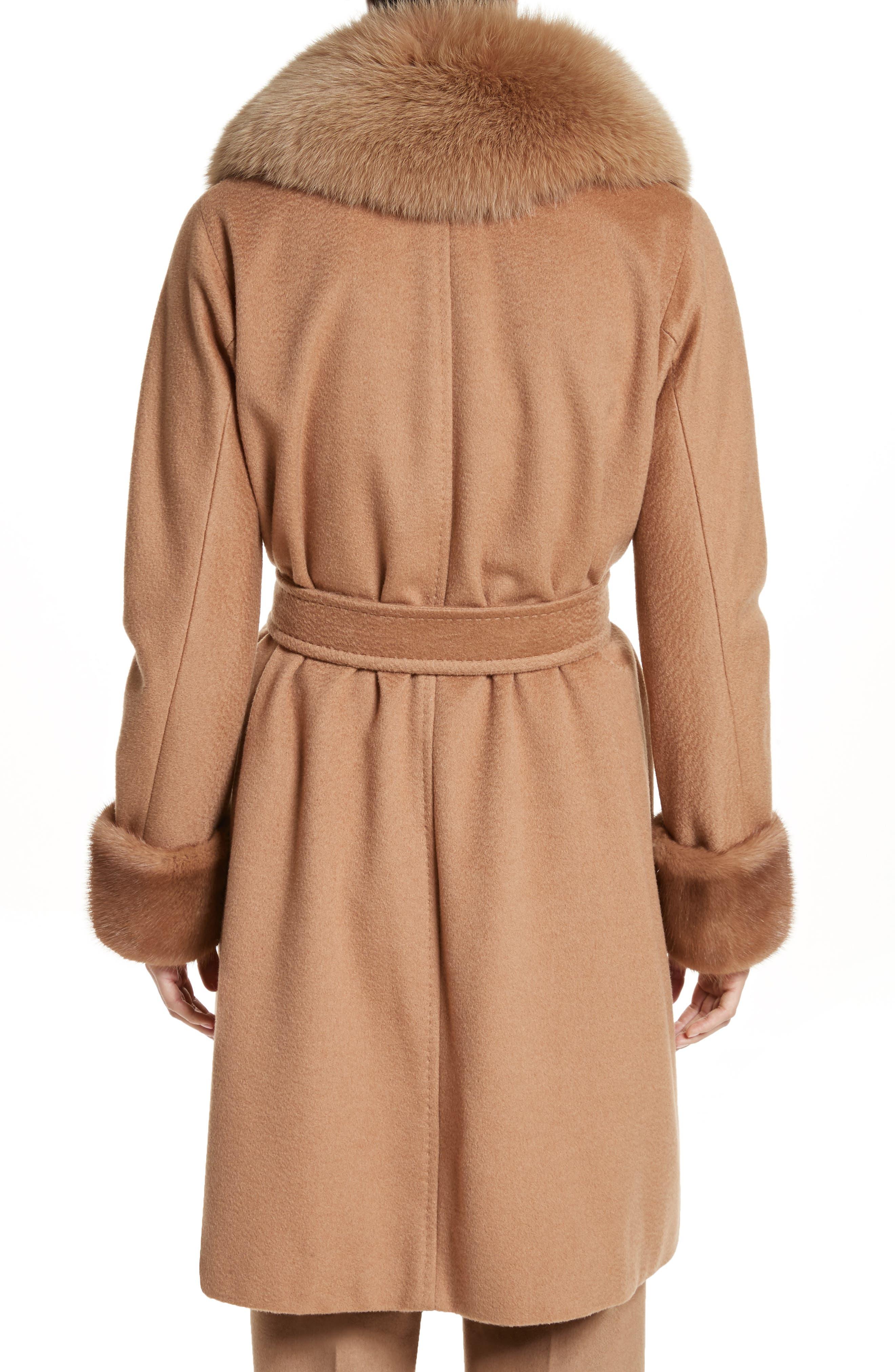 Camel Hair Coat with Genuine Fox Fur & Genuine Mink Fur Trim,                             Alternate thumbnail 2, color,                             232