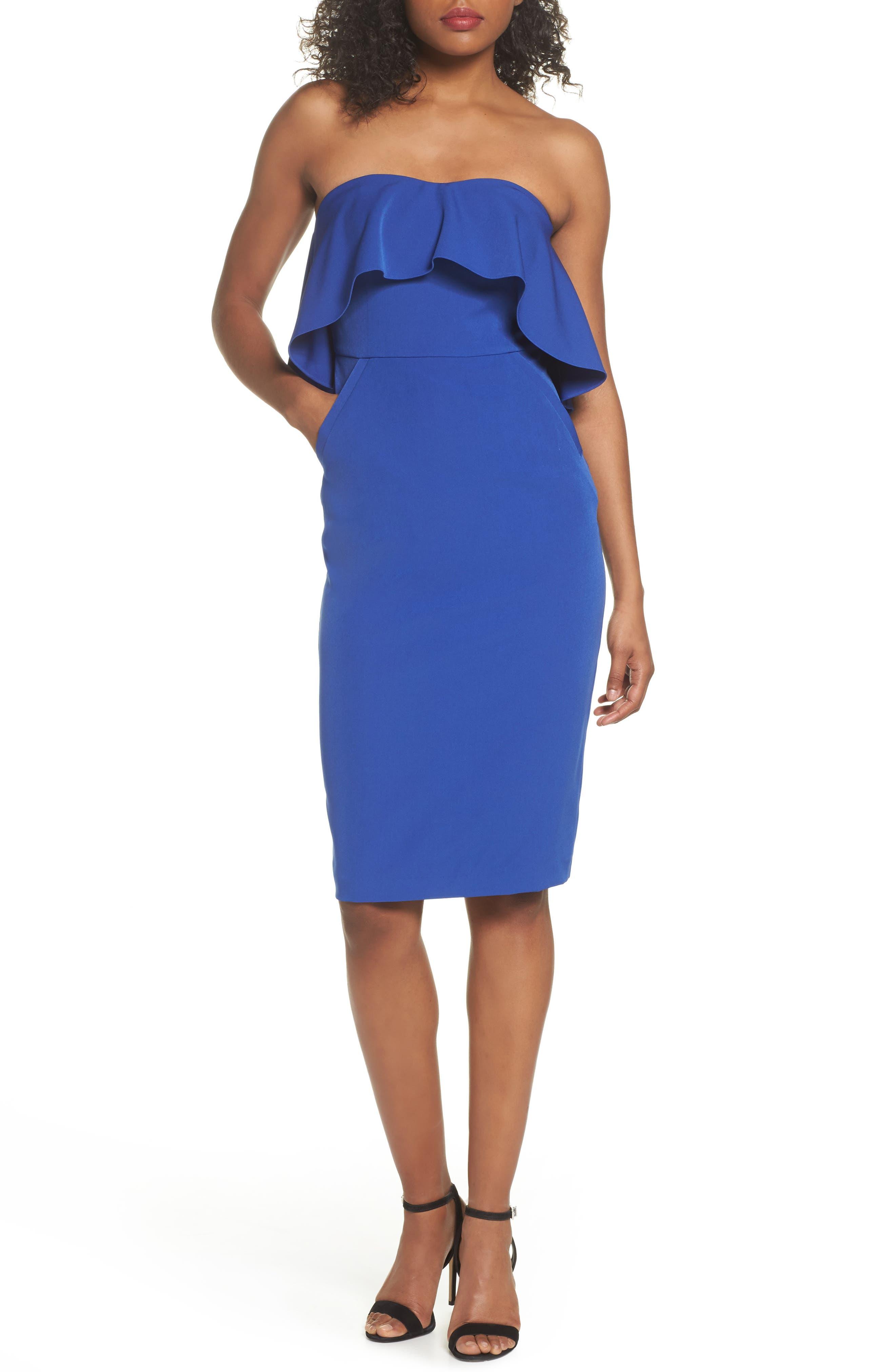 Ruffle Stretch Crepe Sheath Dress,                             Main thumbnail 3, color,