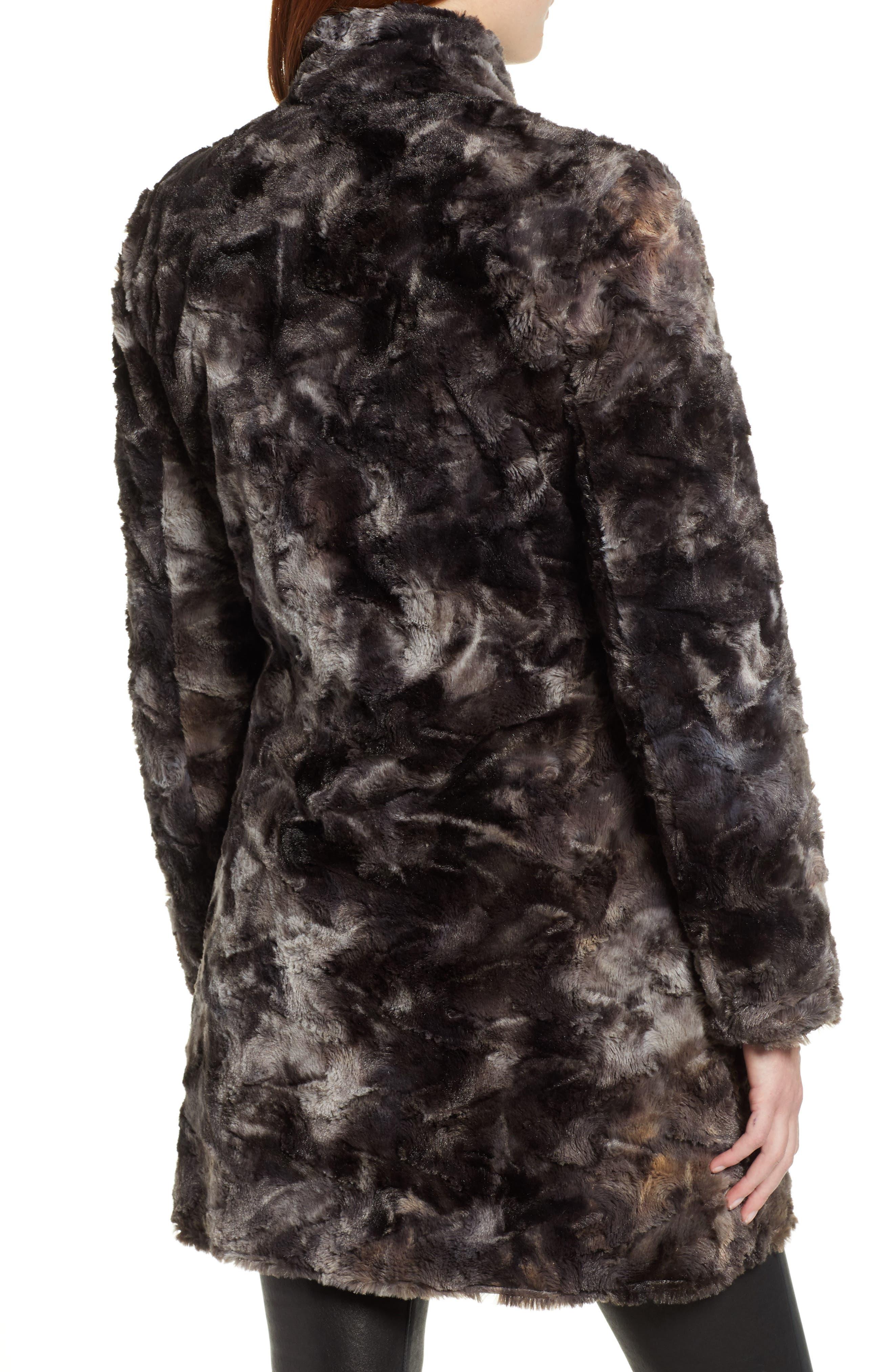 Reversible Faux Leopard Fur Coat,                             Alternate thumbnail 3, color,                             MARLED