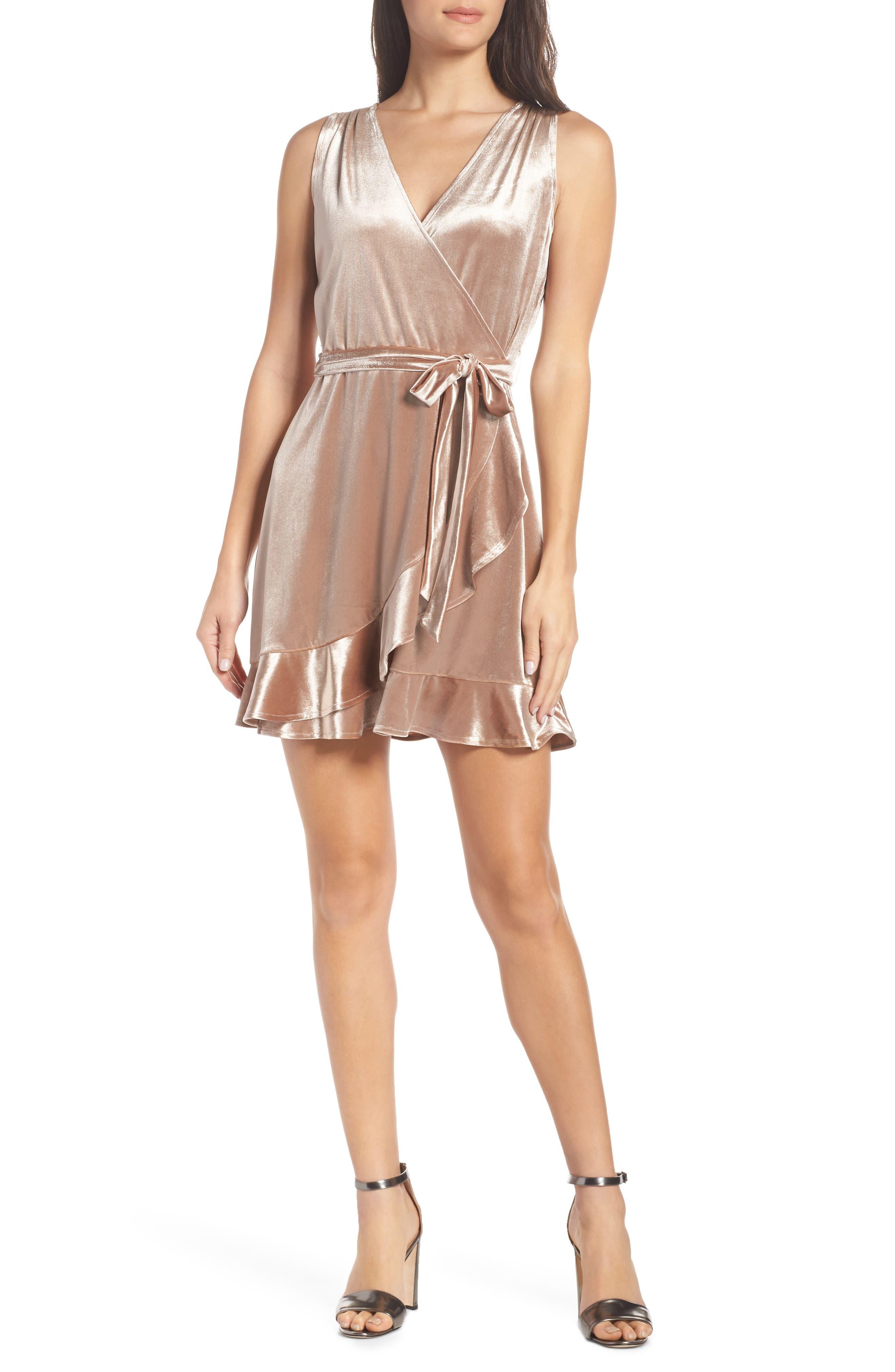 Bb Dakota Stretch Velvet Wrap Dress, Metallic