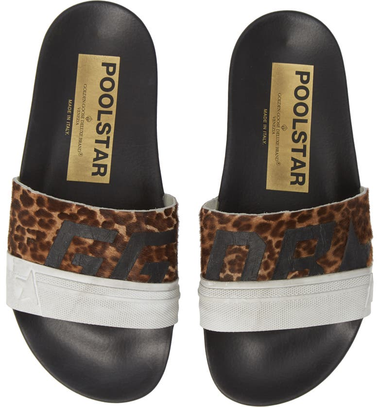 Leopard Poolstar Genuine Calf Hair Sport Slide,                         Main,                         color, LEOPARD/ BLACK