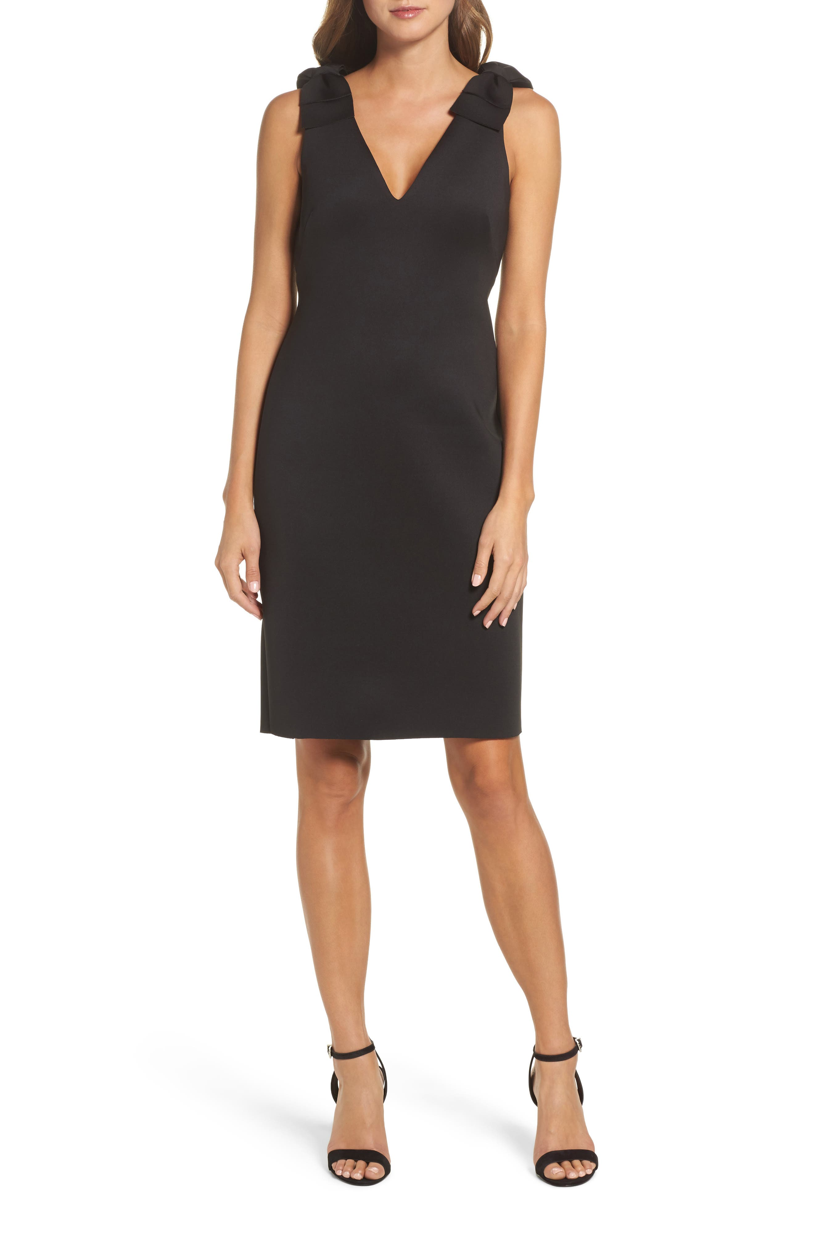 Bow Sheath Dress,                         Main,                         color, 001