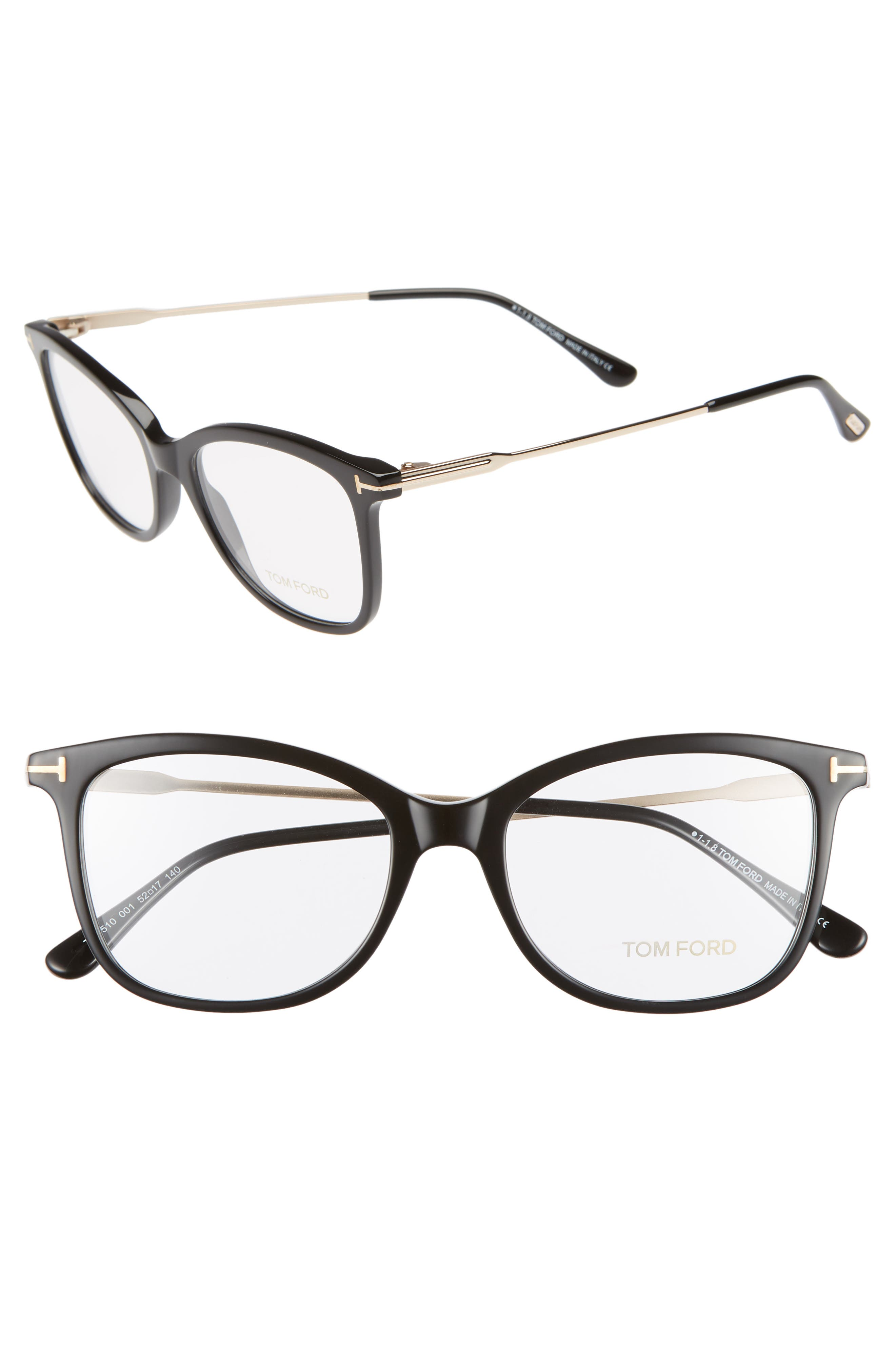 52mm Round Optical Glasses,                             Main thumbnail 1, color,                             SHINY BLACK ACETATE