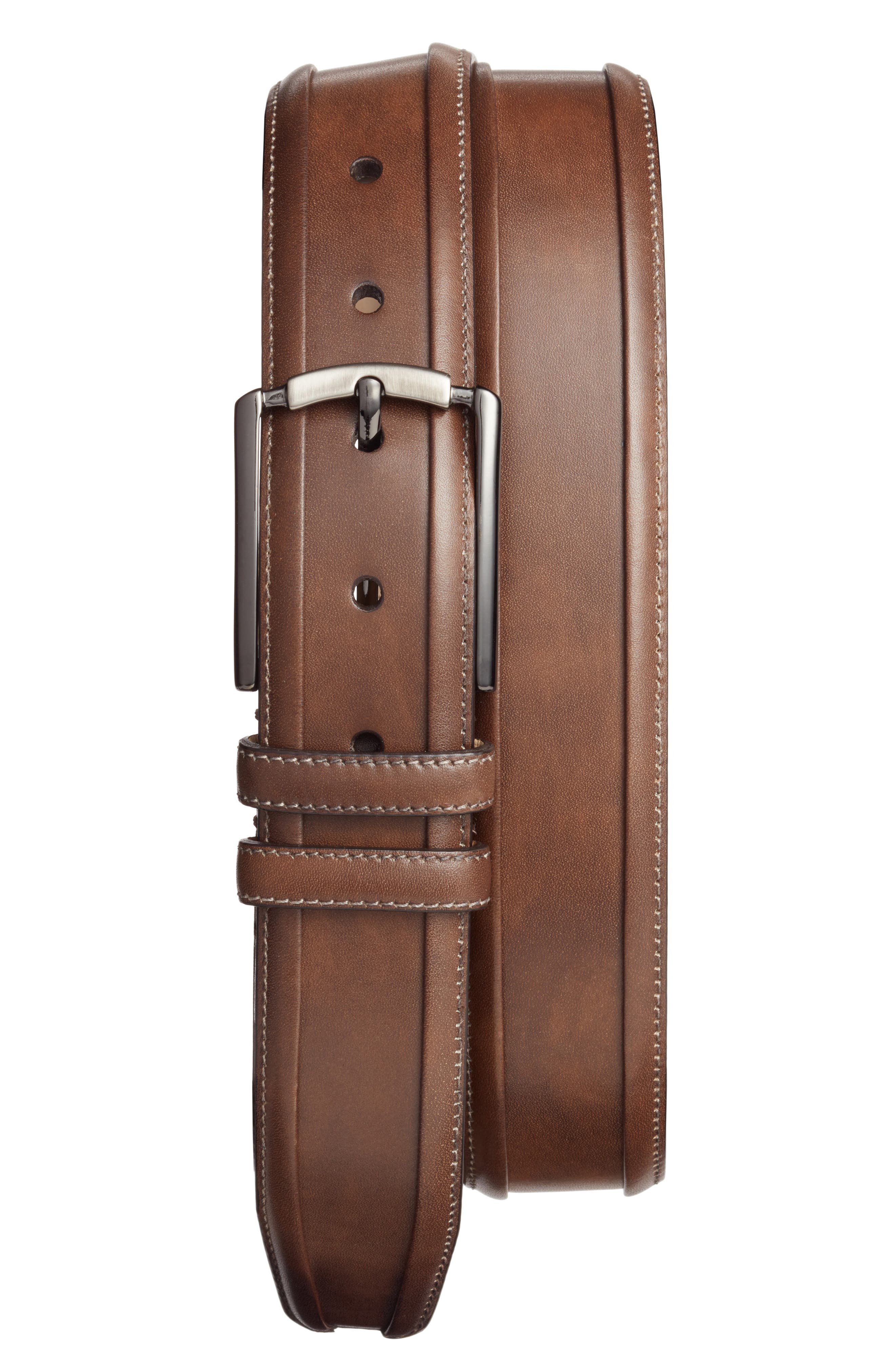 Tequila Leather Belt,                             Main thumbnail 1, color,                             DARK BROWN