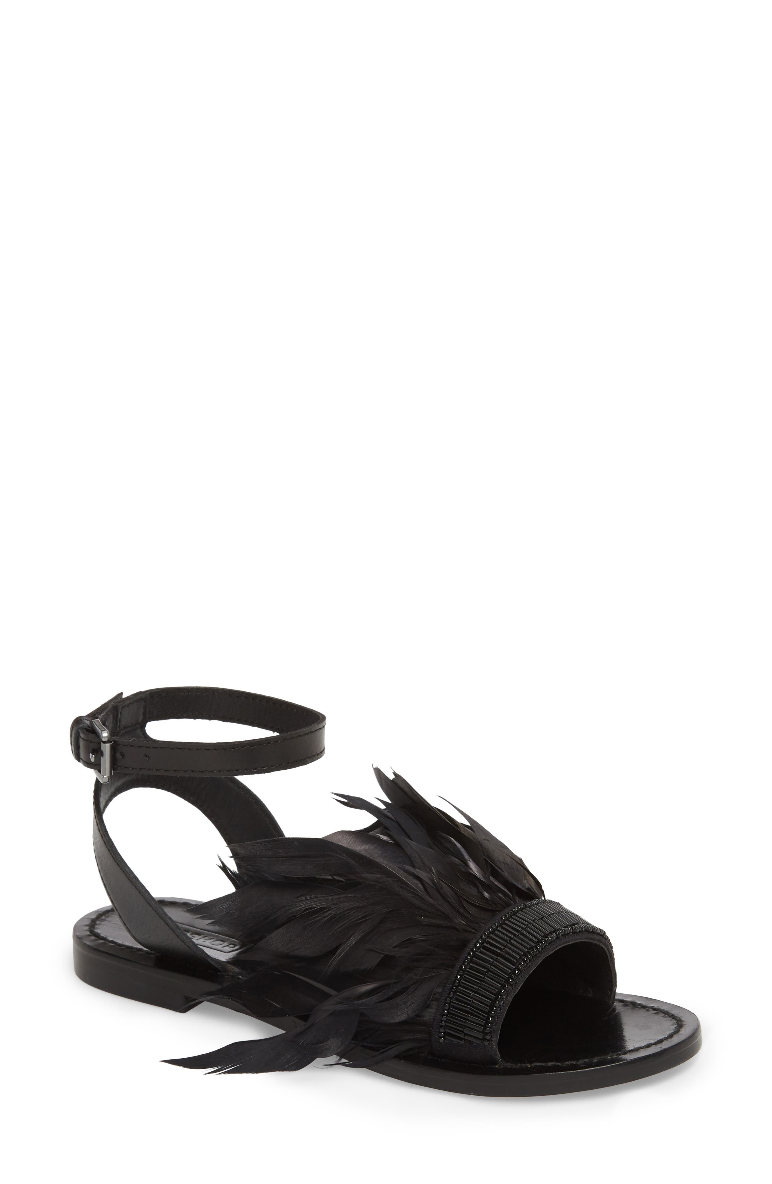 Firework Feathered Sandal,                         Main,                         color, 001