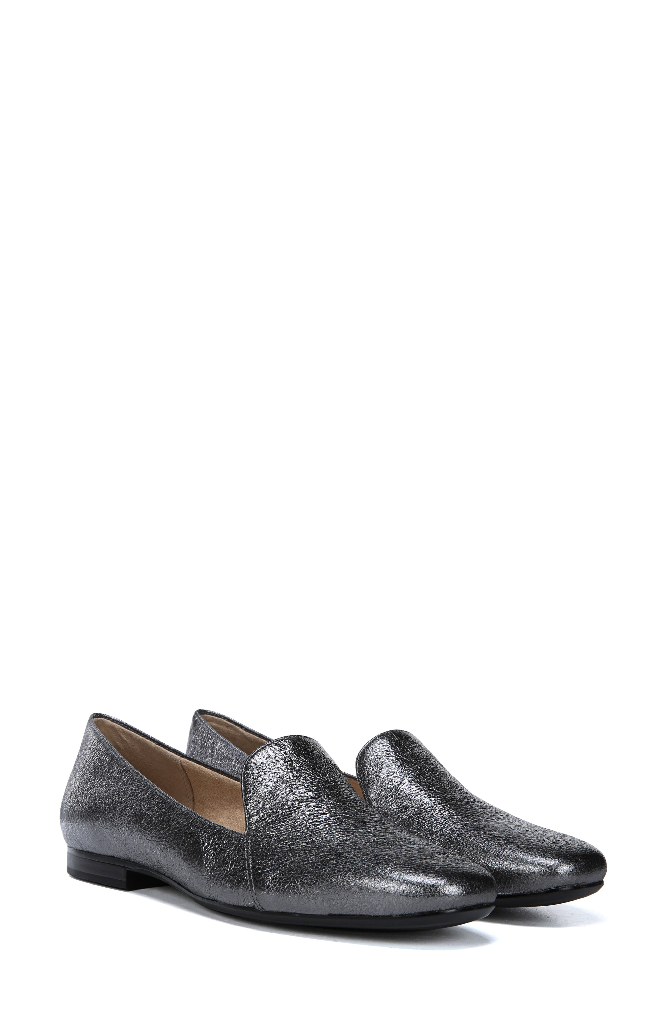 Emiline Flat Loafer,                             Alternate thumbnail 6, color,                             PEWTER LEATHER
