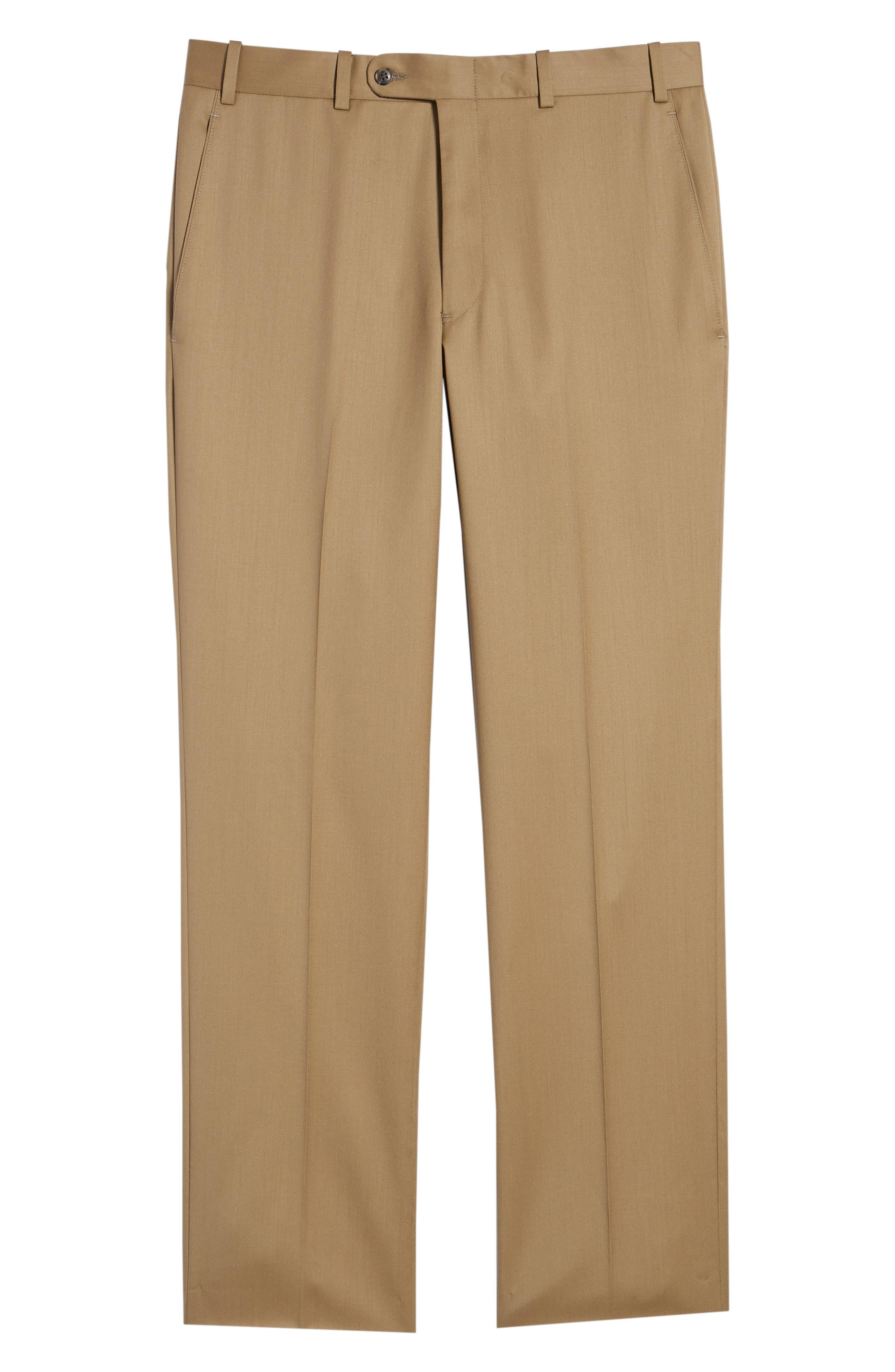 Torino Flat Front Wool Gabardine Trousers,                             Alternate thumbnail 34, color,