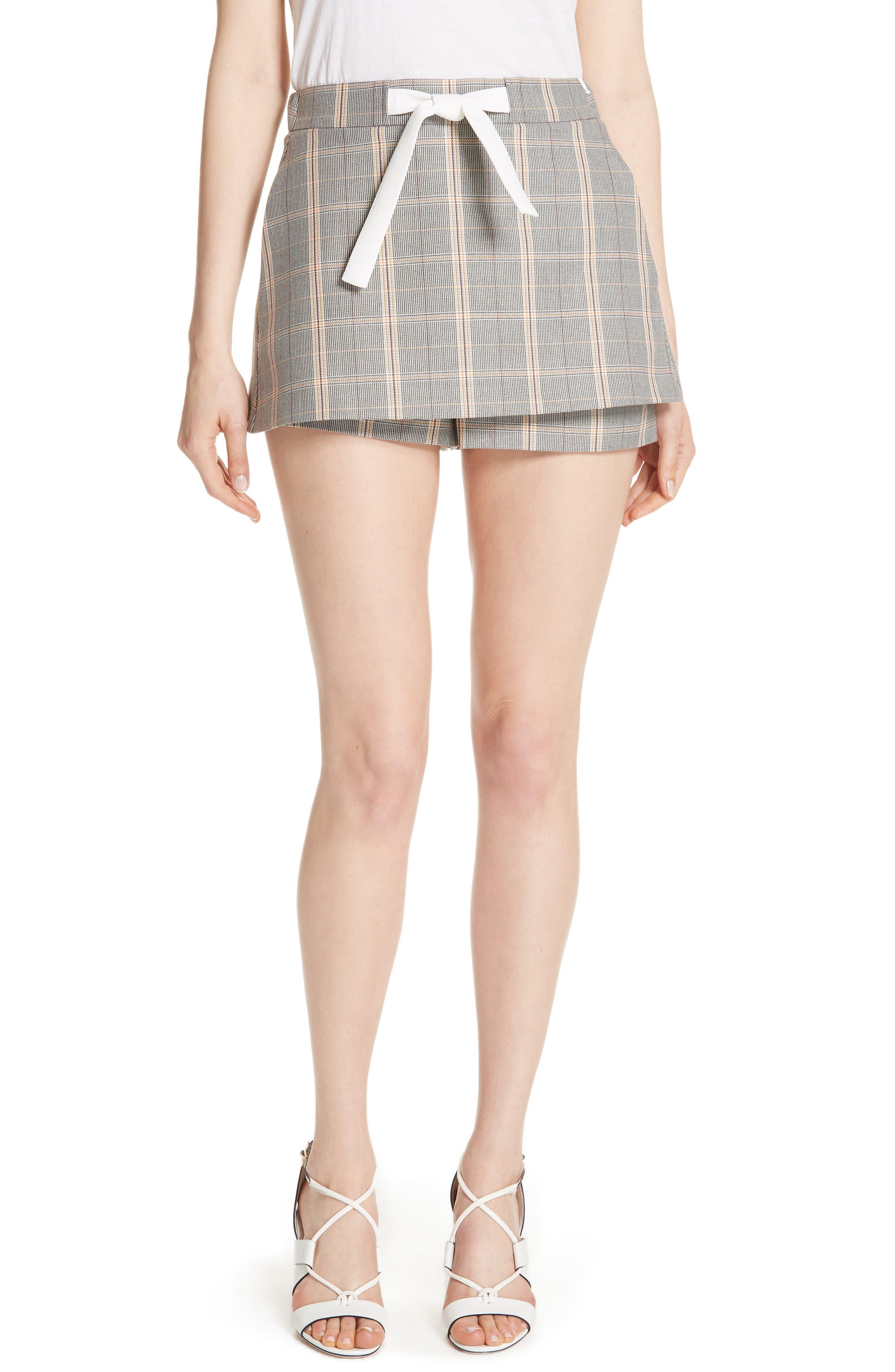 Plaid Skirt Front Shorts,                             Main thumbnail 1, color,                             020