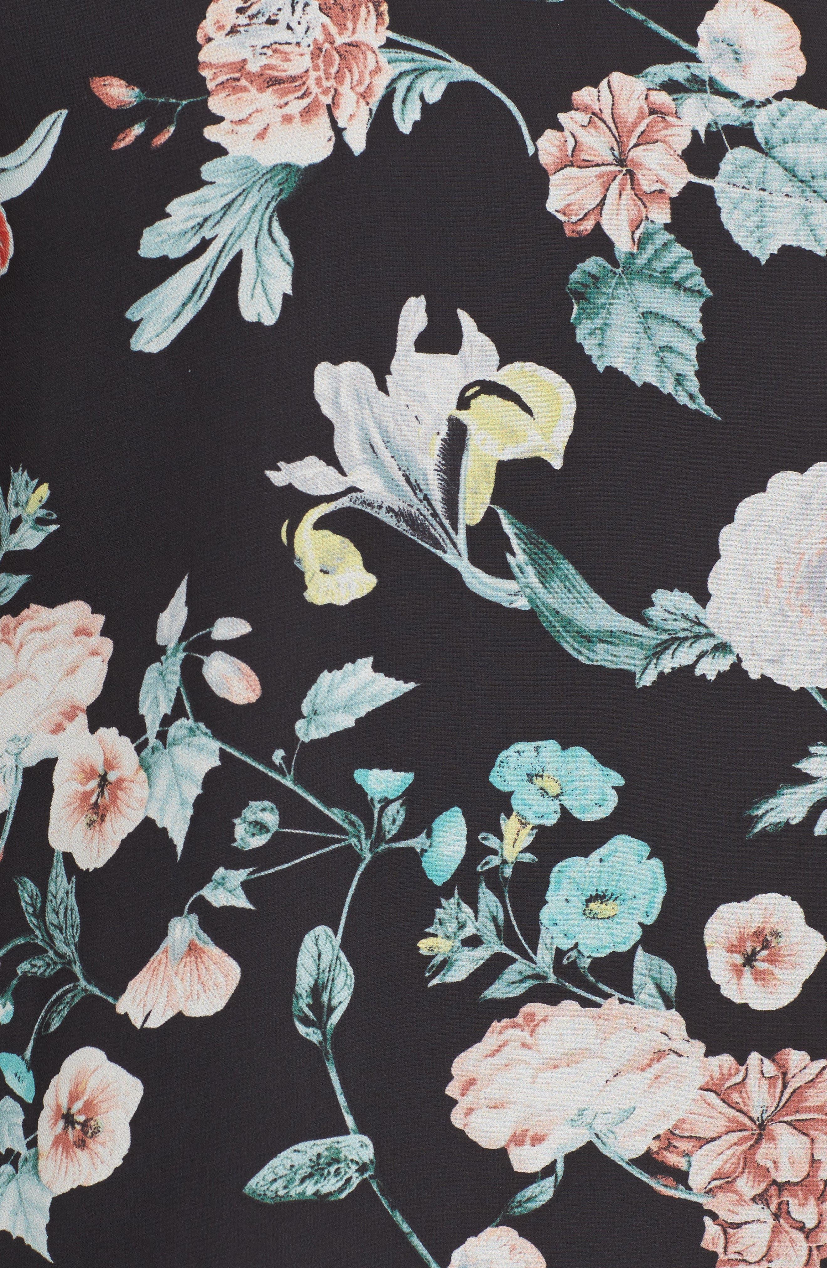 Floral Gardens Drawstring Sleeve Blouse,                             Alternate thumbnail 5, color,                             006