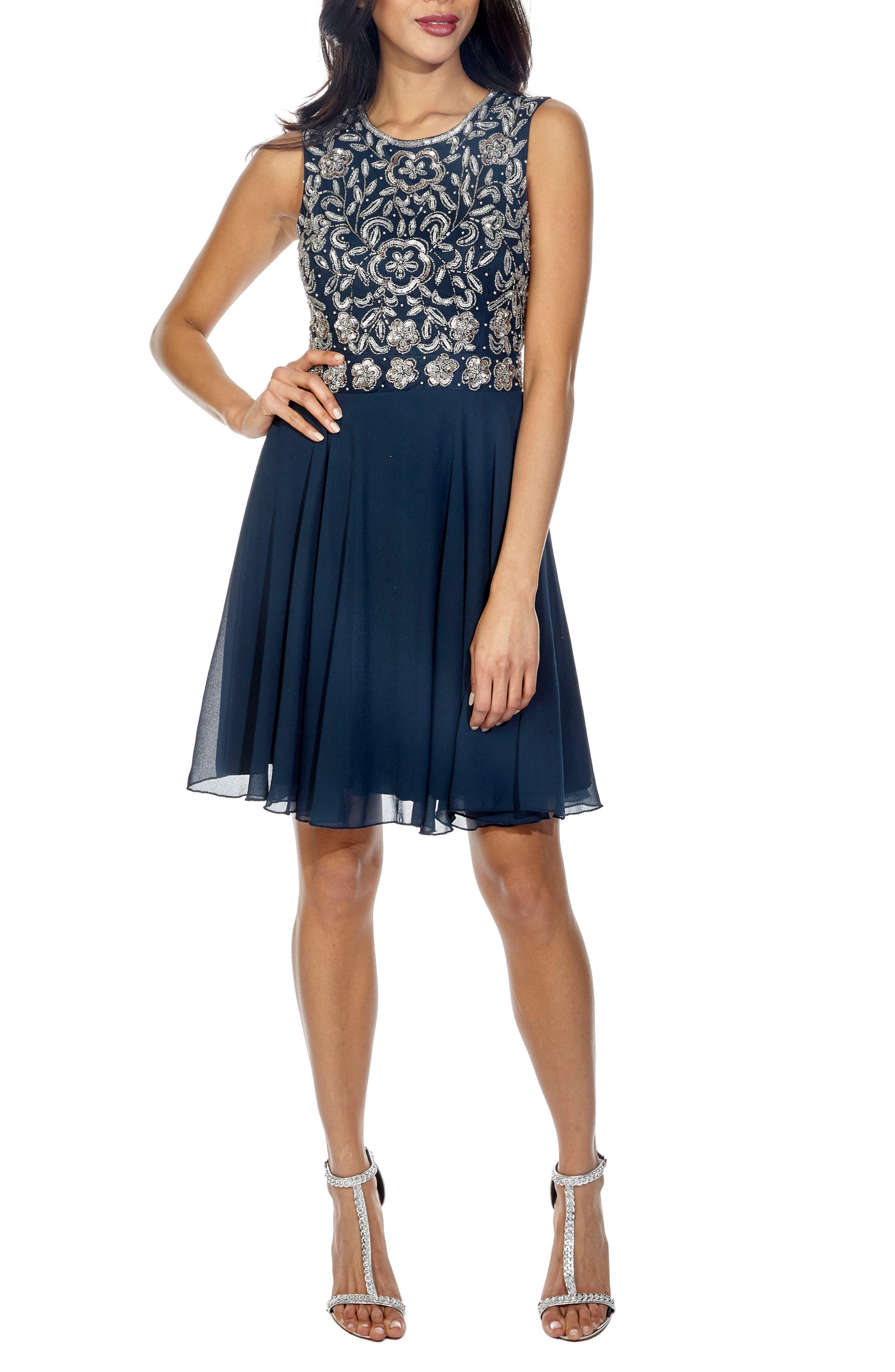 Memphis Fit & Flare Dress,                             Main thumbnail 1, color,                             NAVY