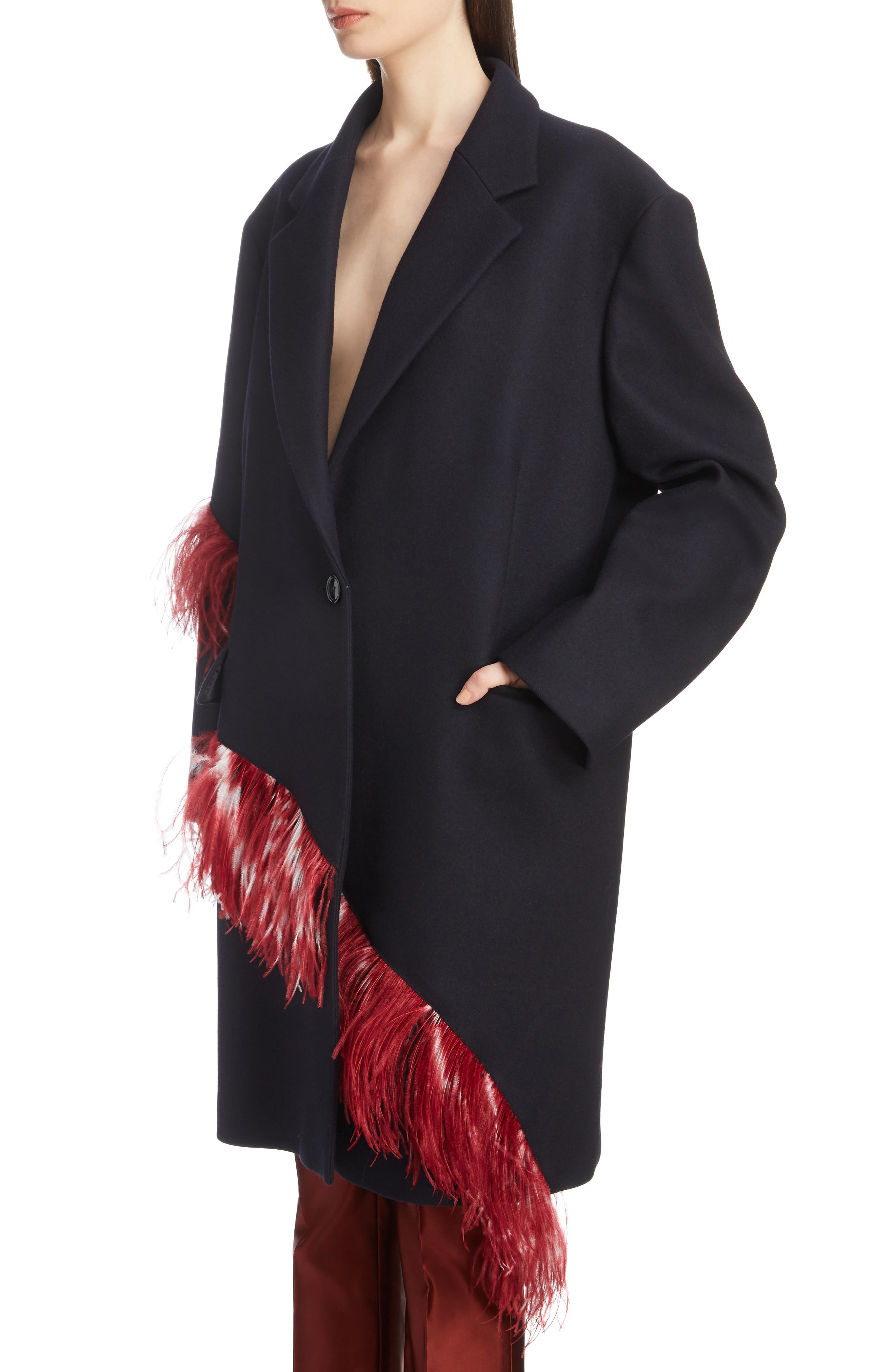 Ostrich Feather Trim Wool Blend Reefer Coat,                             Alternate thumbnail 4, color,                             NAVY