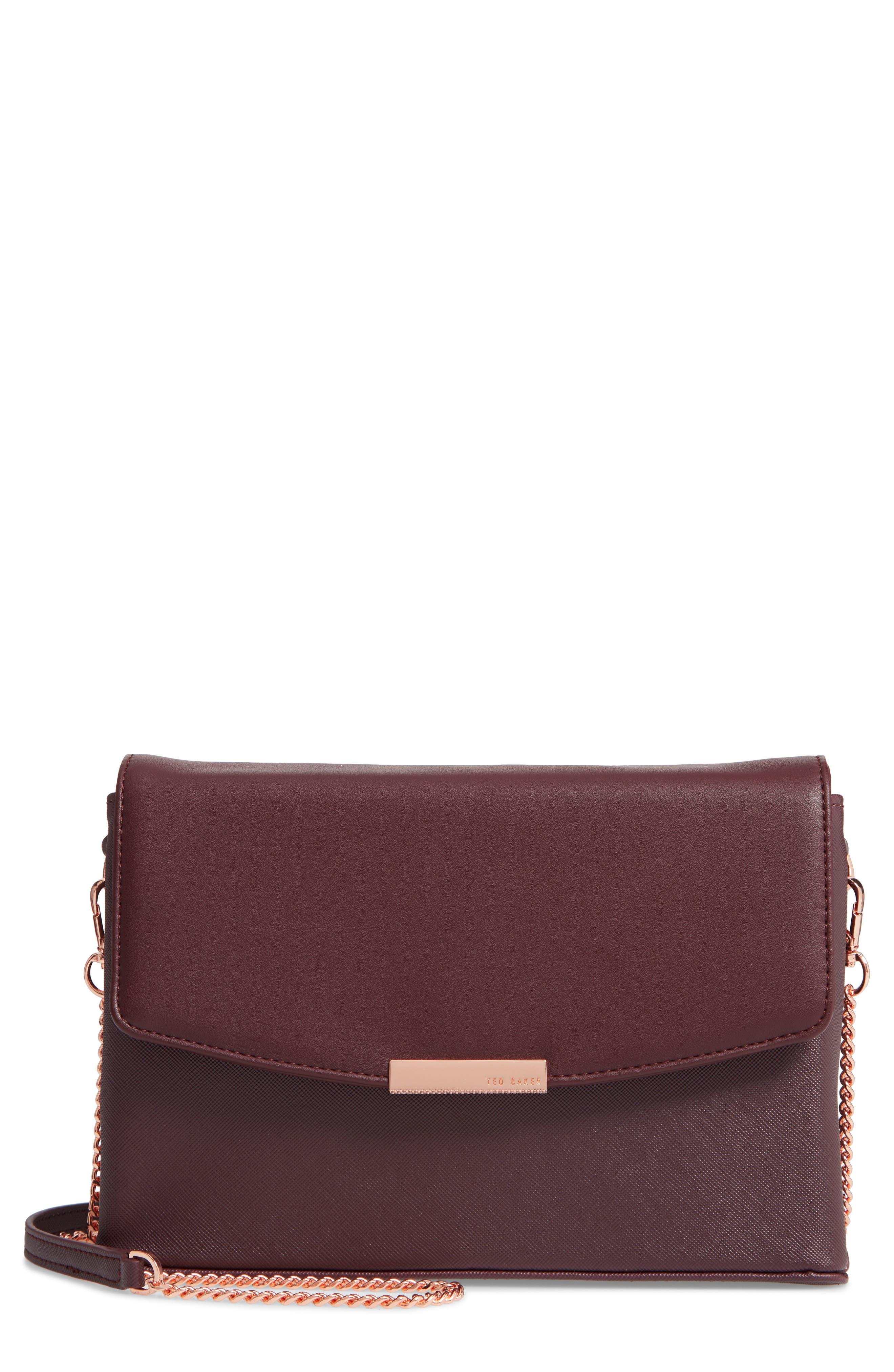 Faux Leather Crossbody Bag,                         Main,                         color, DEEP PURPLE