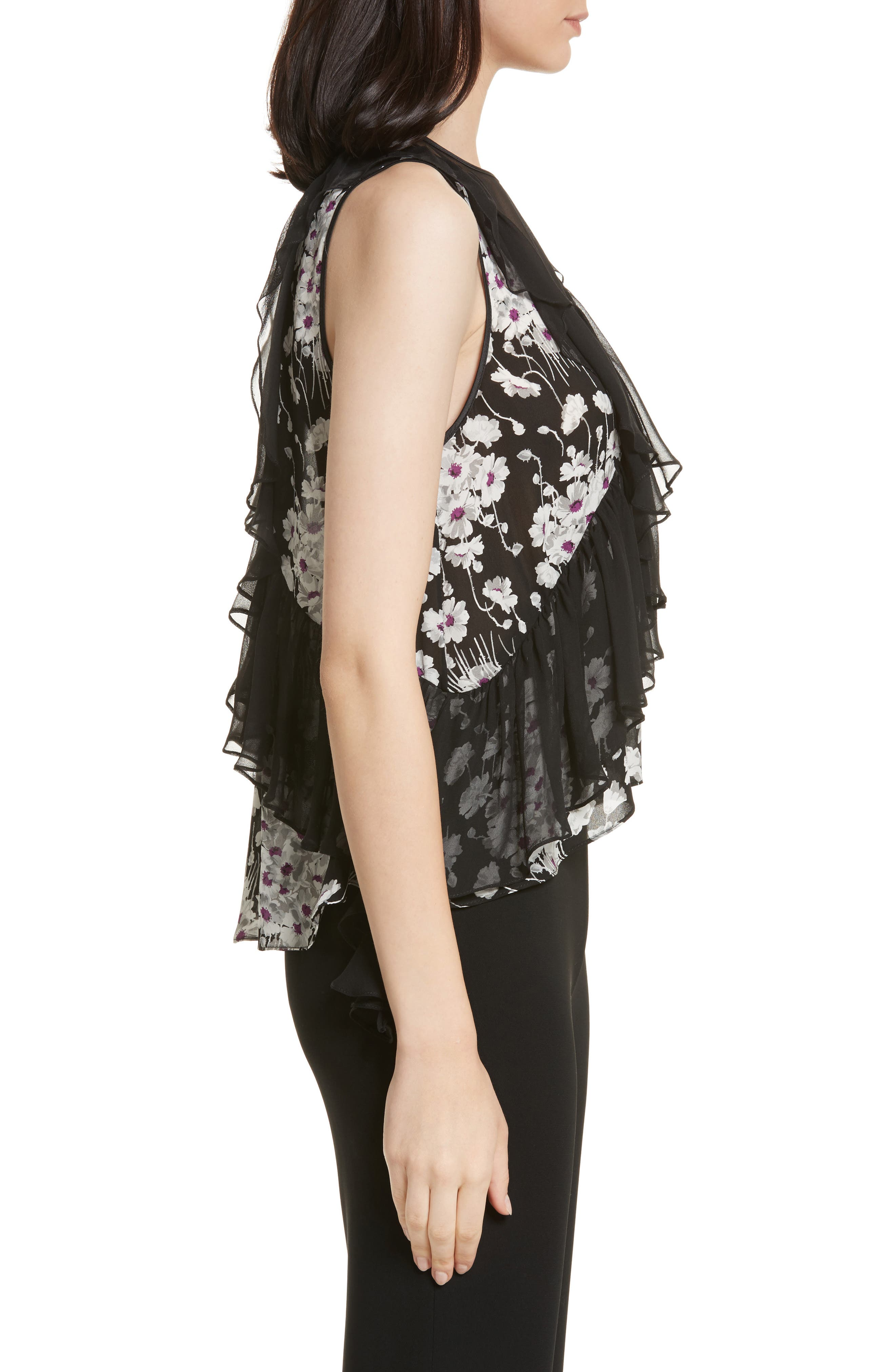Simone Ruffled Sleeveless Silk Top,                             Alternate thumbnail 3, color,                             008