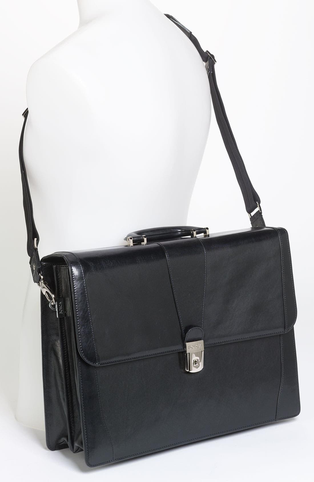 Double Gusset Briefcase,                             Alternate thumbnail 2, color,                             BLACK