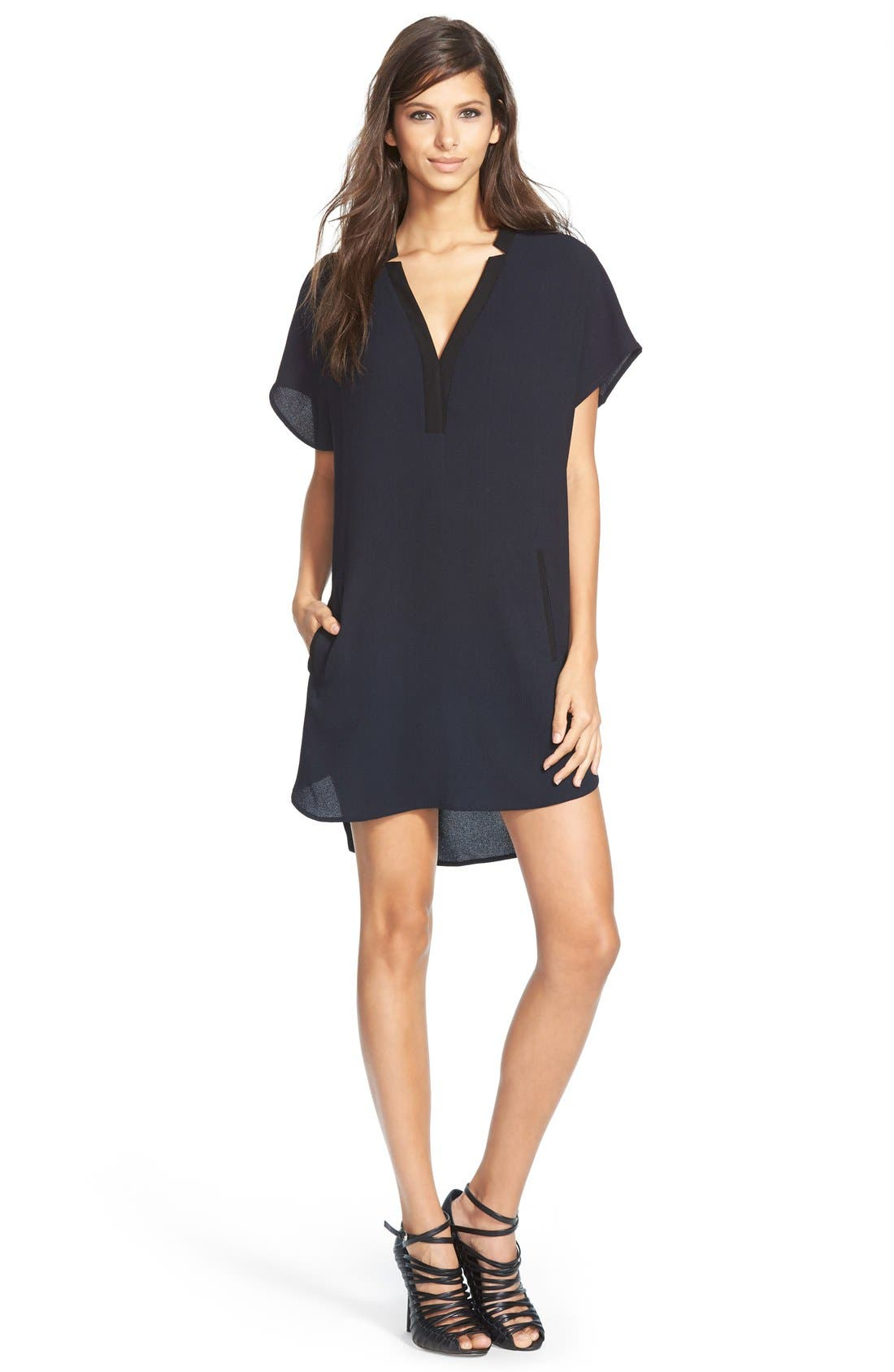 ASTR V-Neck Crepe Shift Dress,                         Main,                         color, BLUE