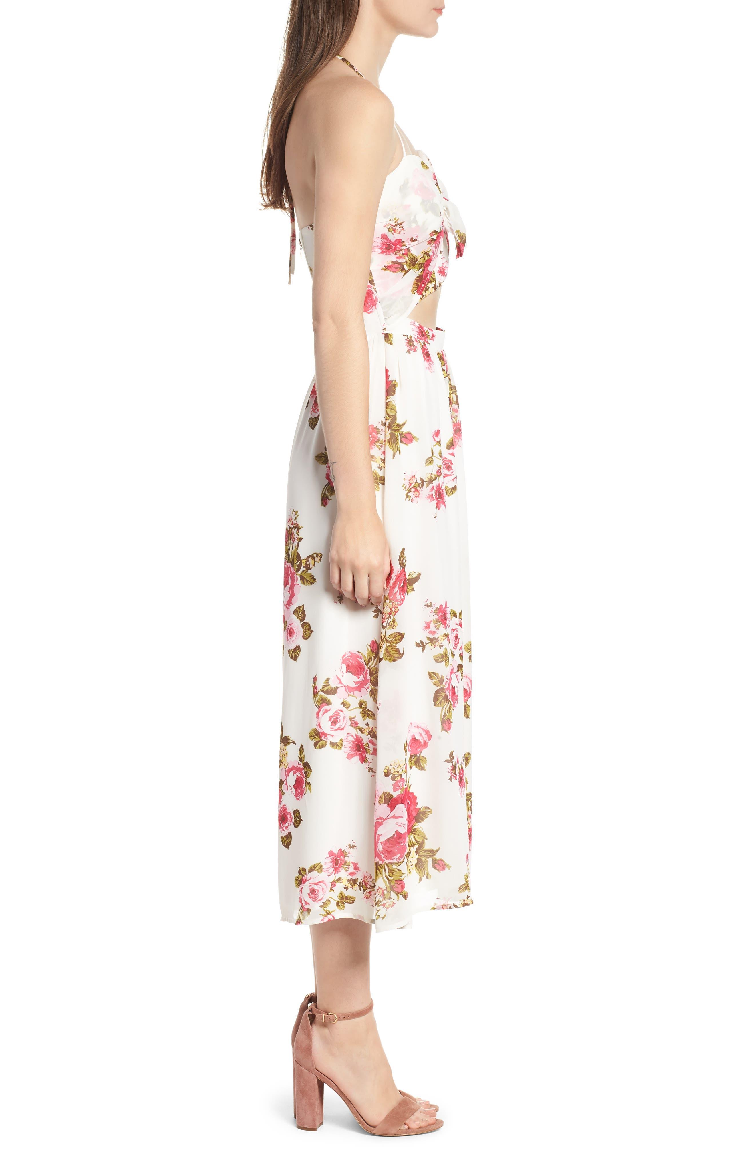 Floral Print Halter Midi Dress,                             Alternate thumbnail 3, color,                             900