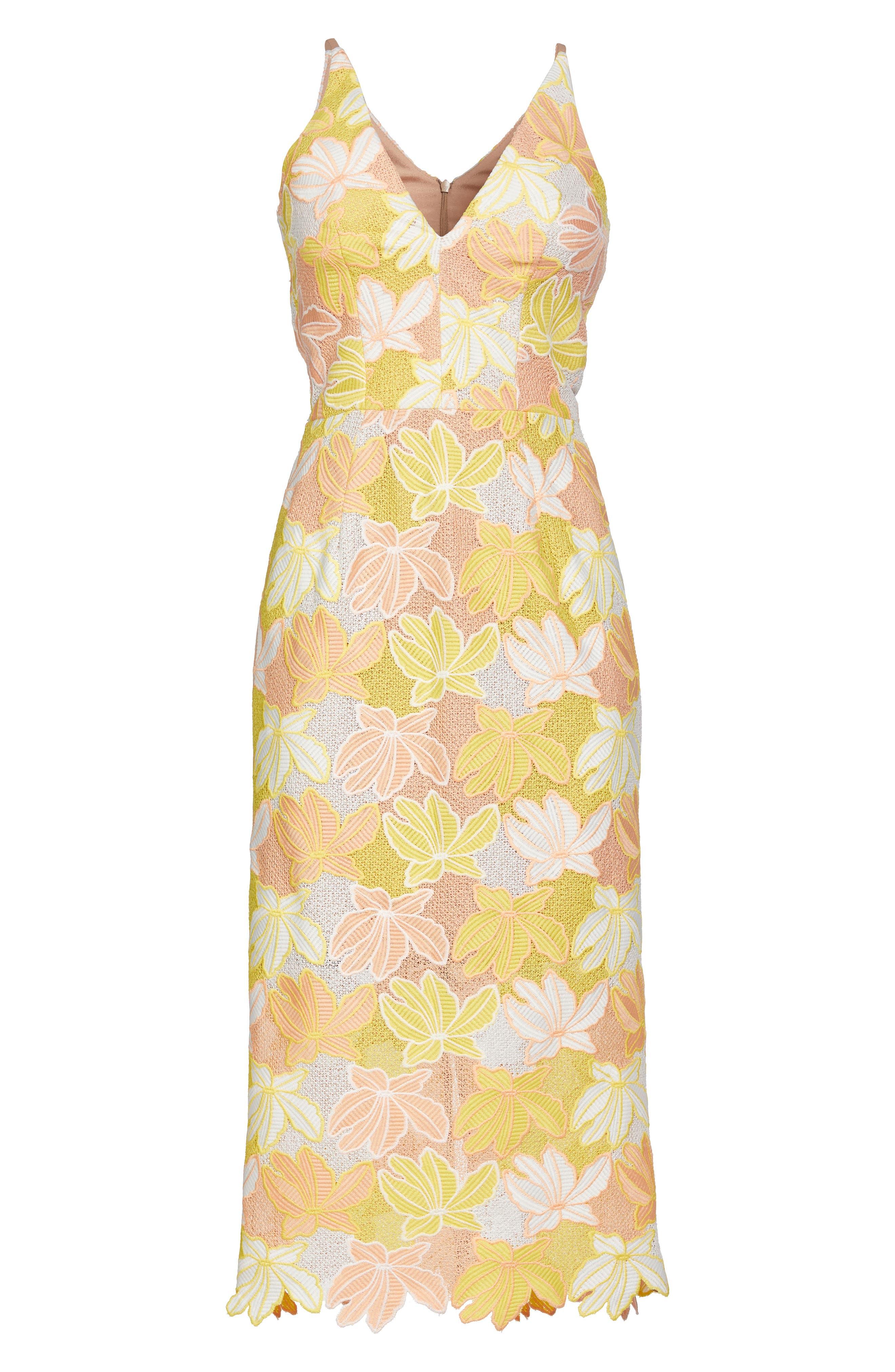 Aurora Lace Midi Dress,                             Alternate thumbnail 4, color,                             745