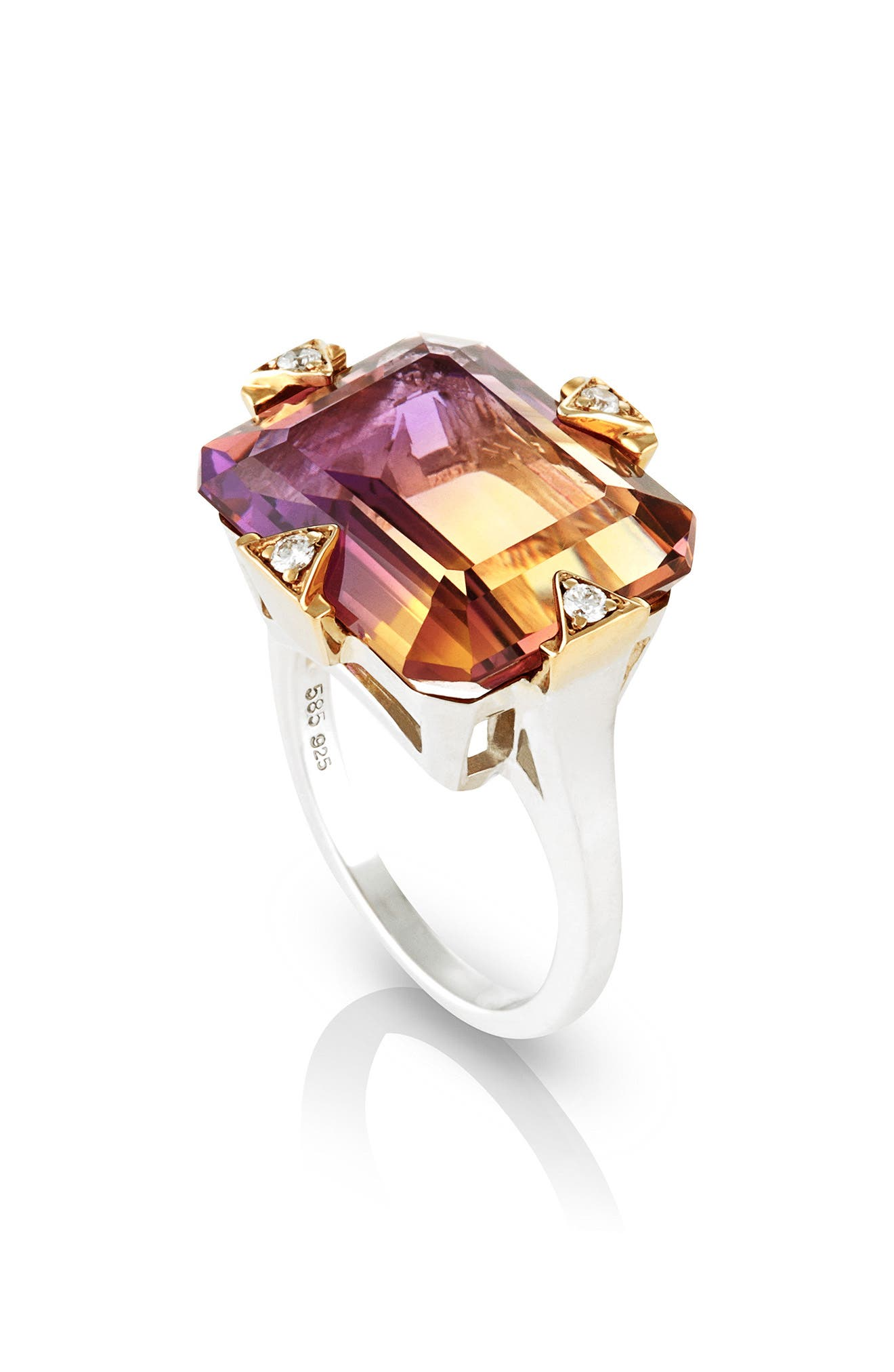 Cocktail Ring with Diamonds,                             Main thumbnail 1, color,                             AMETRINE