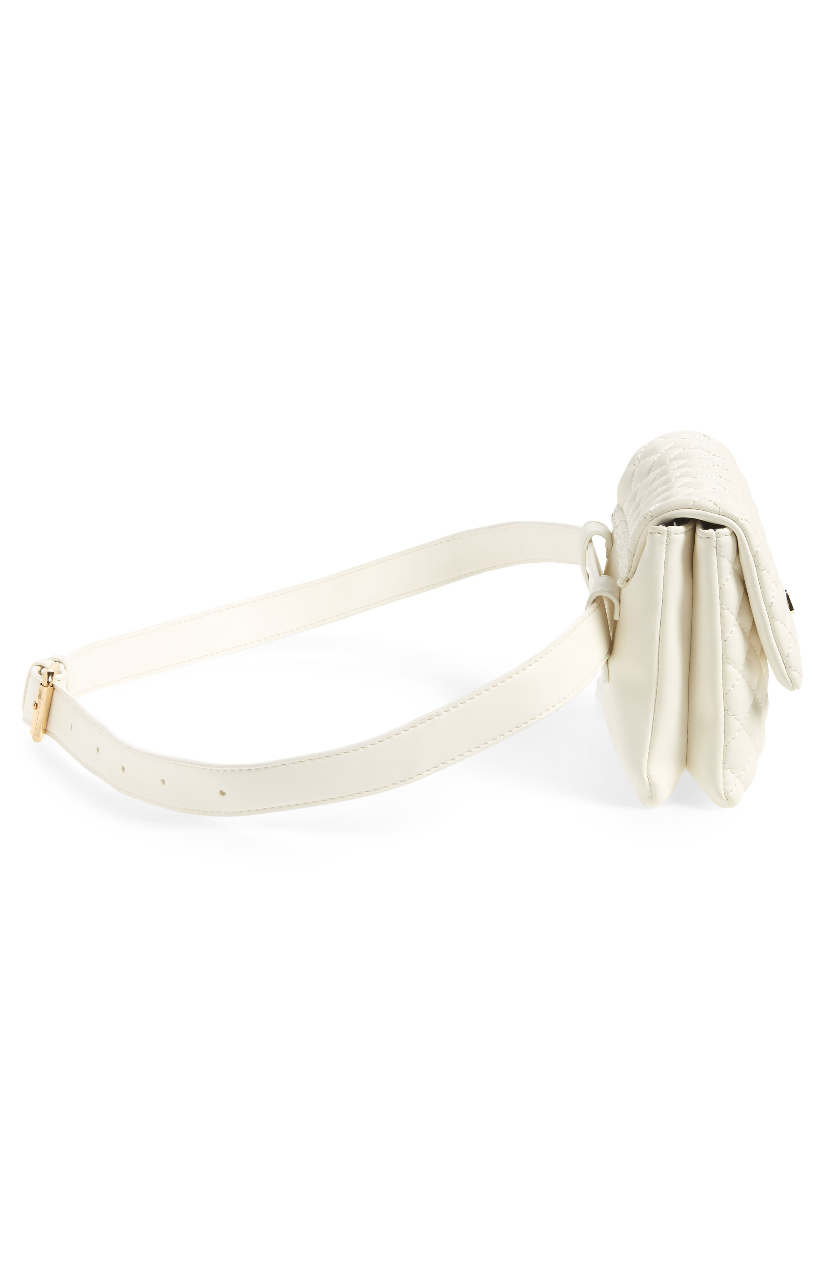 Mali + Lili Quilted Vegan Leather Convertible Belt Bag,                             Alternate thumbnail 7, color,                             WHITE
