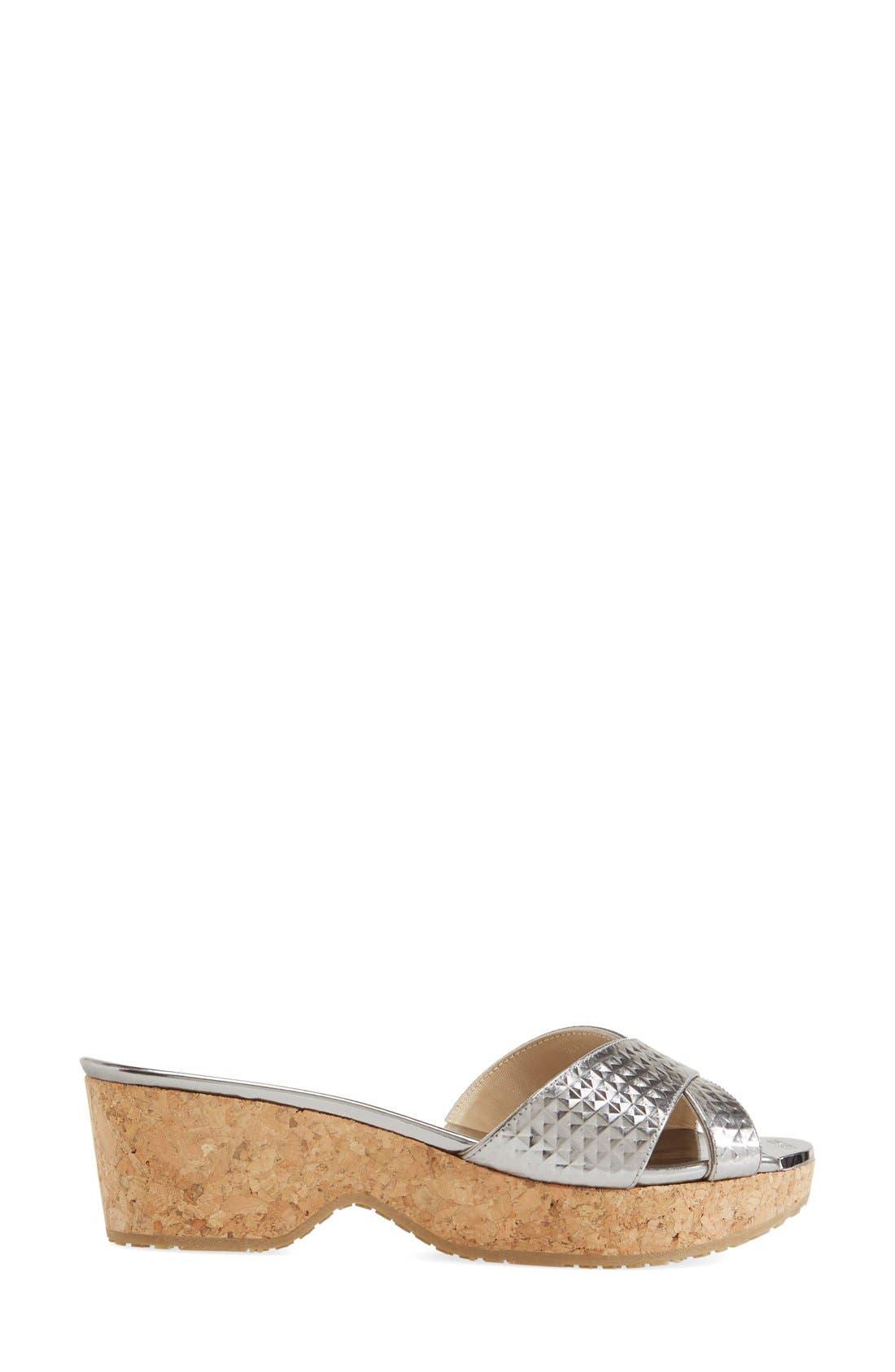 'Panna' Cork Wedge Slide Sandal,                             Alternate thumbnail 2, color,                             040