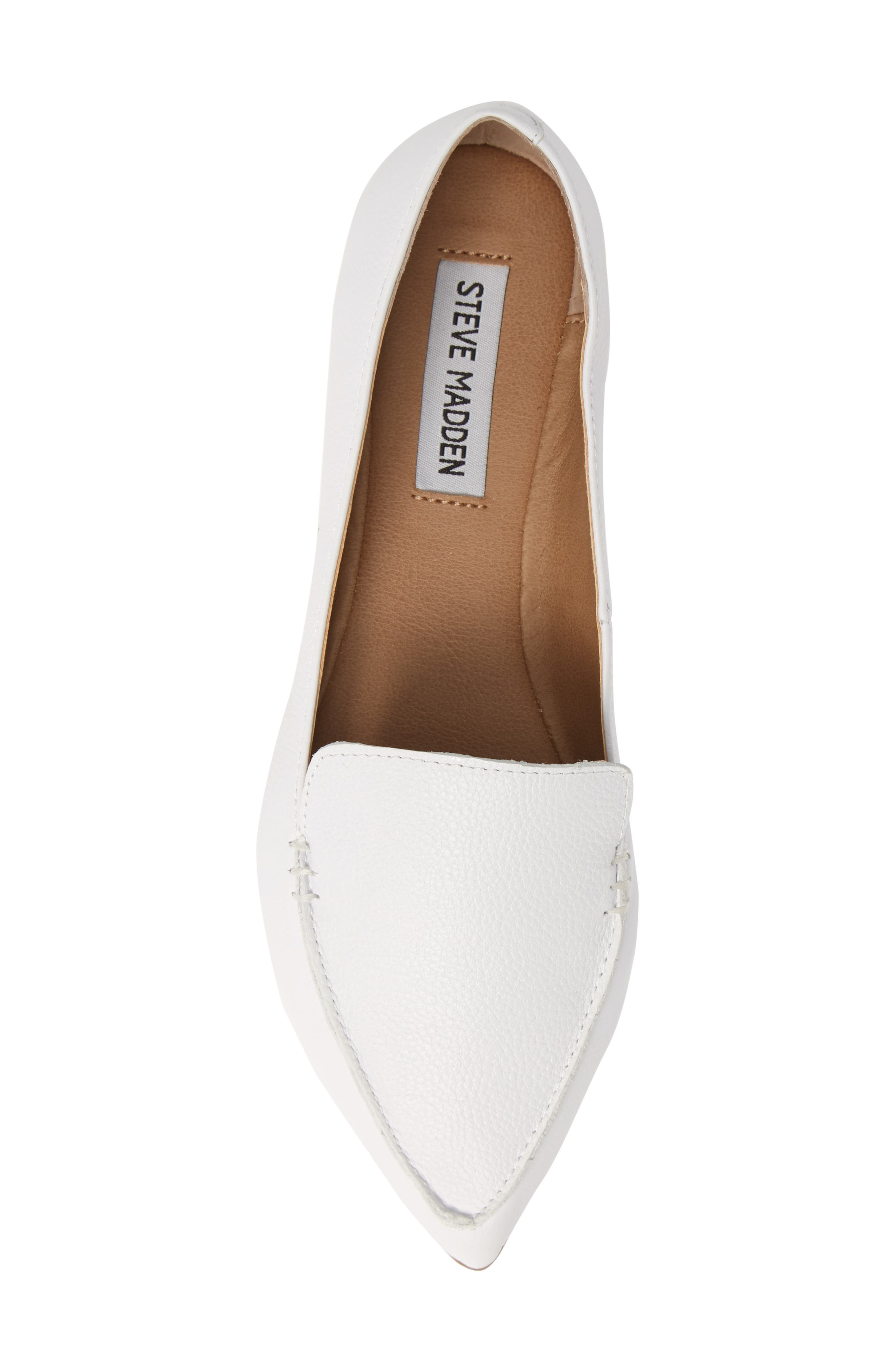 STEVE MADDEN,                             Feather Loafer Flat,                             Alternate thumbnail 5, color,                             WHITE LEATHER