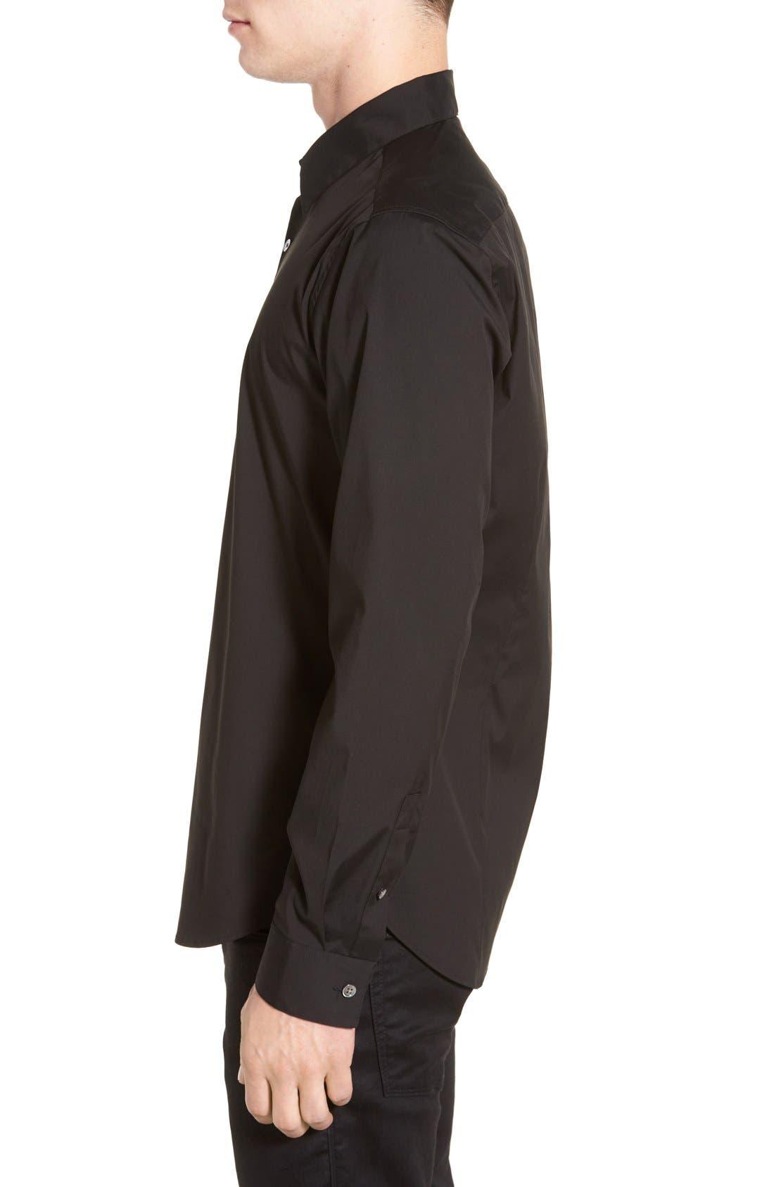 'Sylvain' Trim Fit Long Sleeve Sport Shirt,                             Alternate thumbnail 3, color,                             BLACK