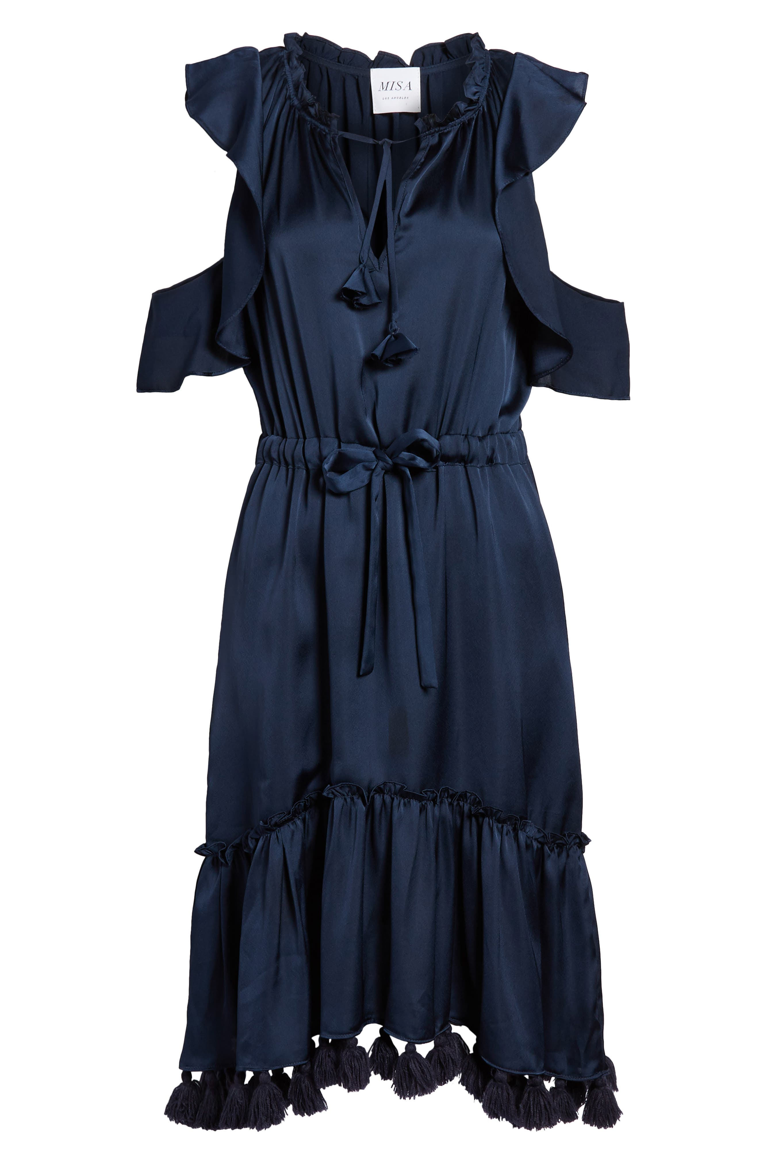 Pillar Satin Dress,                             Alternate thumbnail 6, color,                             400
