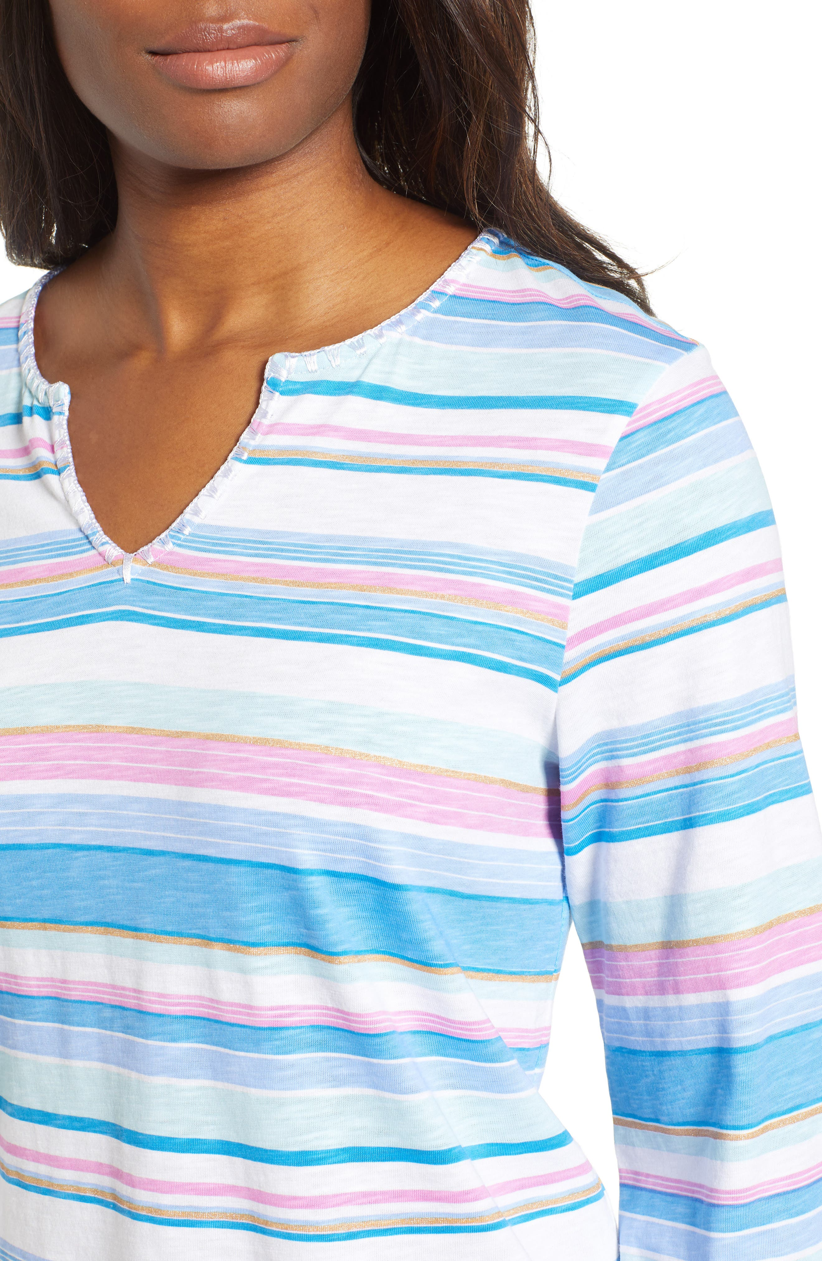 Festival Stripe Bell Sleeve Pima Cotton Top,                             Alternate thumbnail 4, color,                             BLUE ASTER
