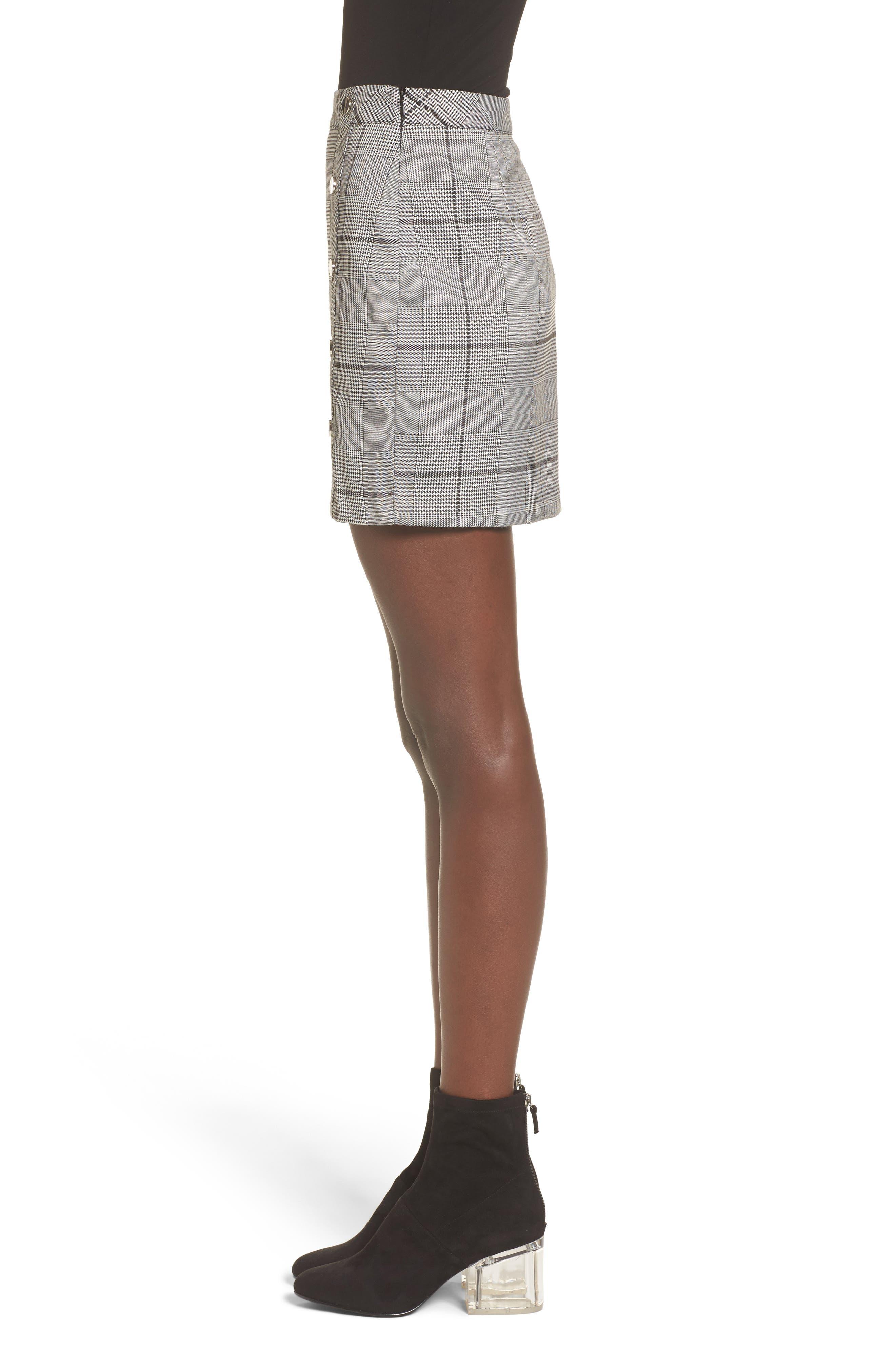 Button Plaid Miniskirt,                             Alternate thumbnail 3, color,                             001