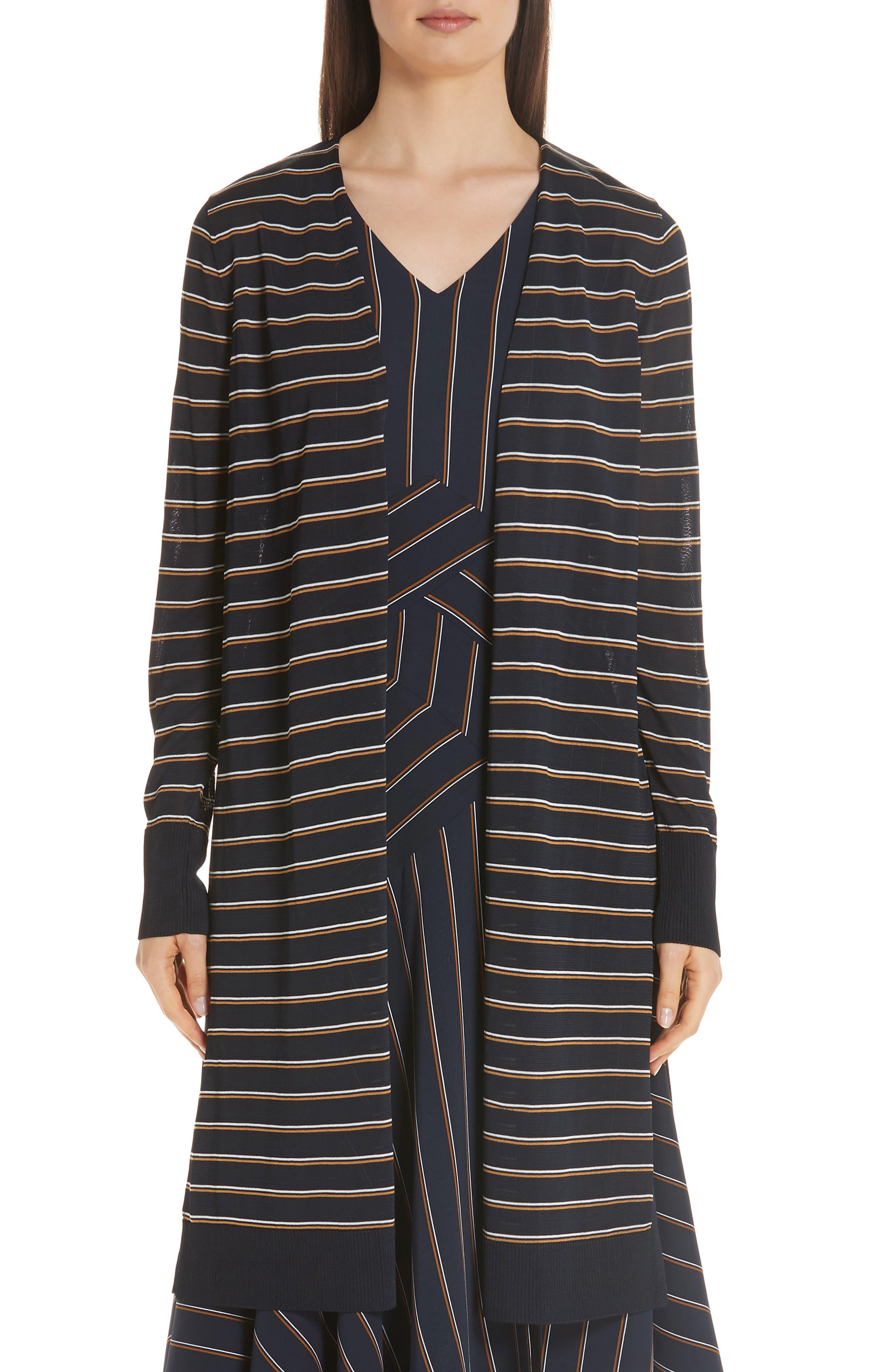 Metropolitan Shine Striped Long Cardigan in Ink Multi