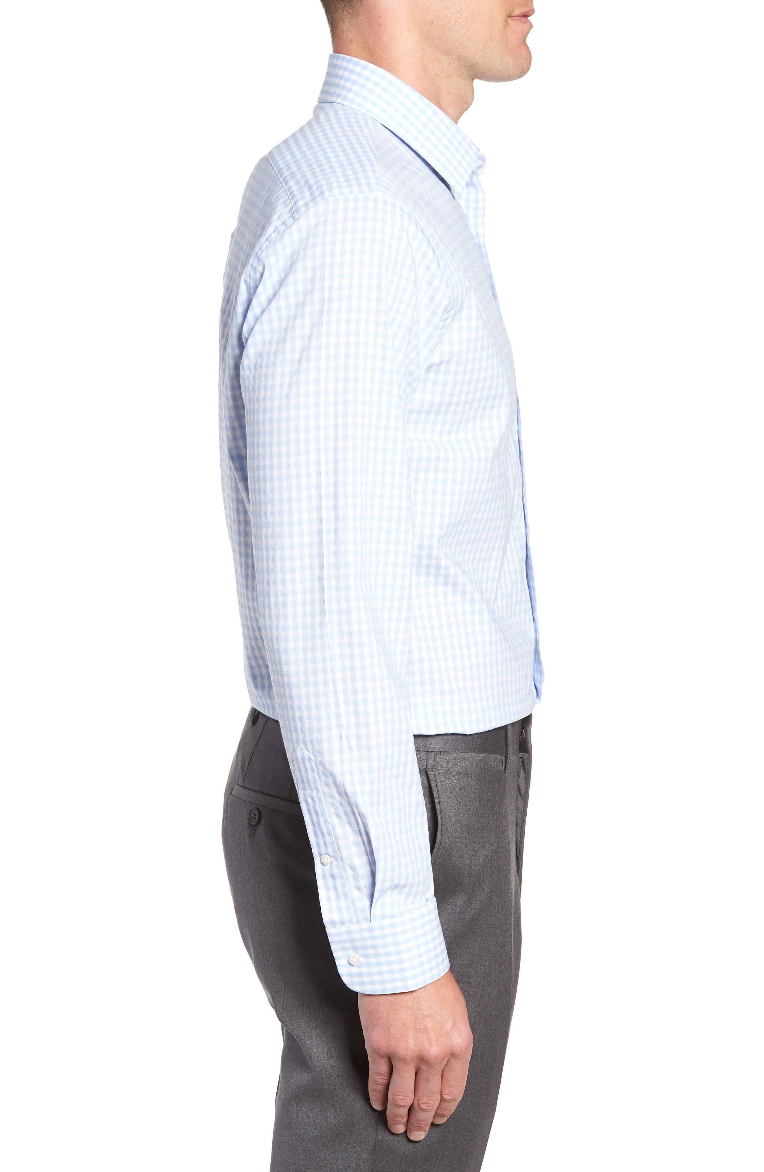 Tech-Smart Trim Fit Stretch Check Dress Shirt,                             Alternate thumbnail 4, color,                             BLUE BRUNNERA