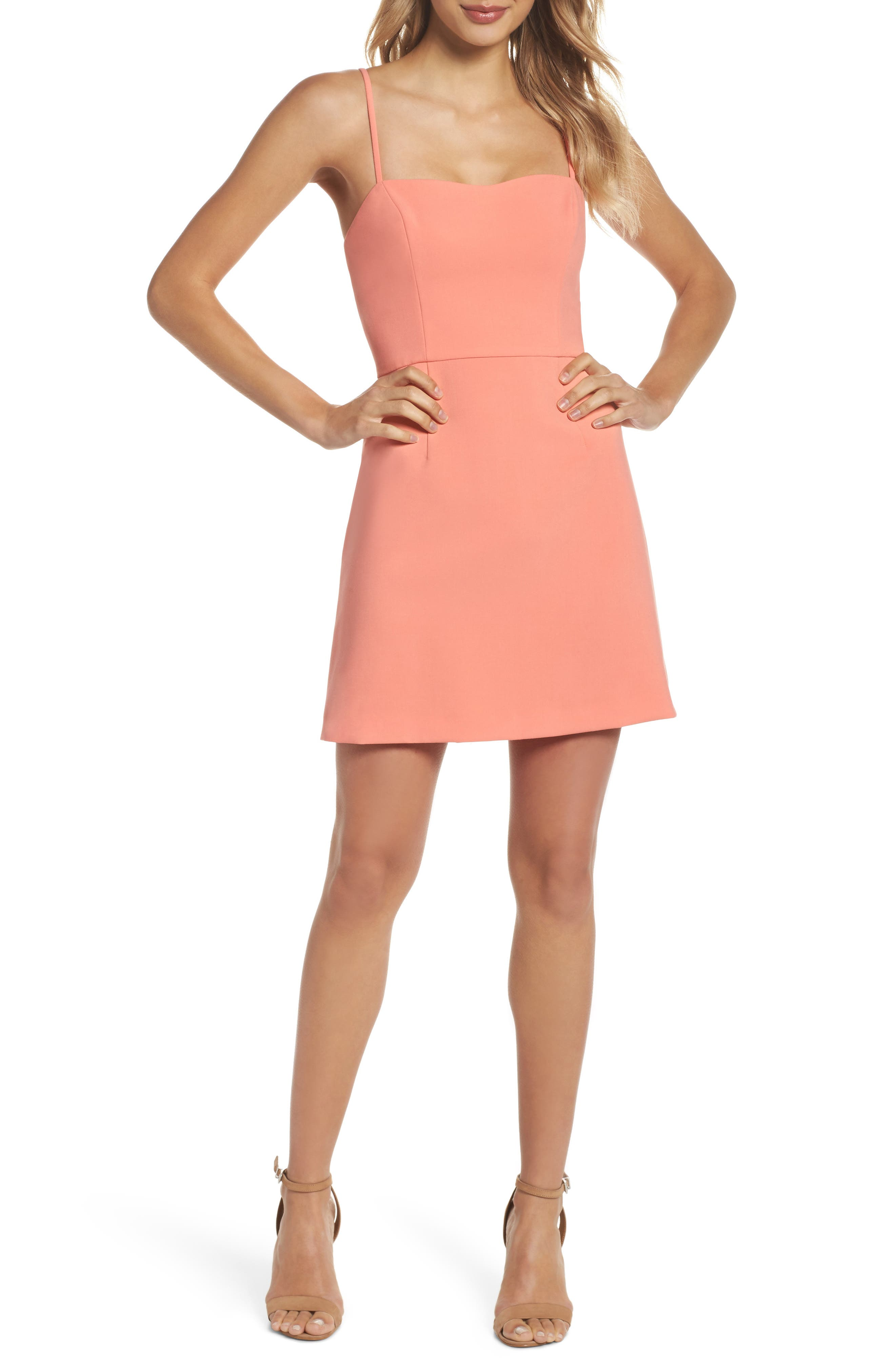 French Connection Whisper Light Sweetheart Minidress, Coral