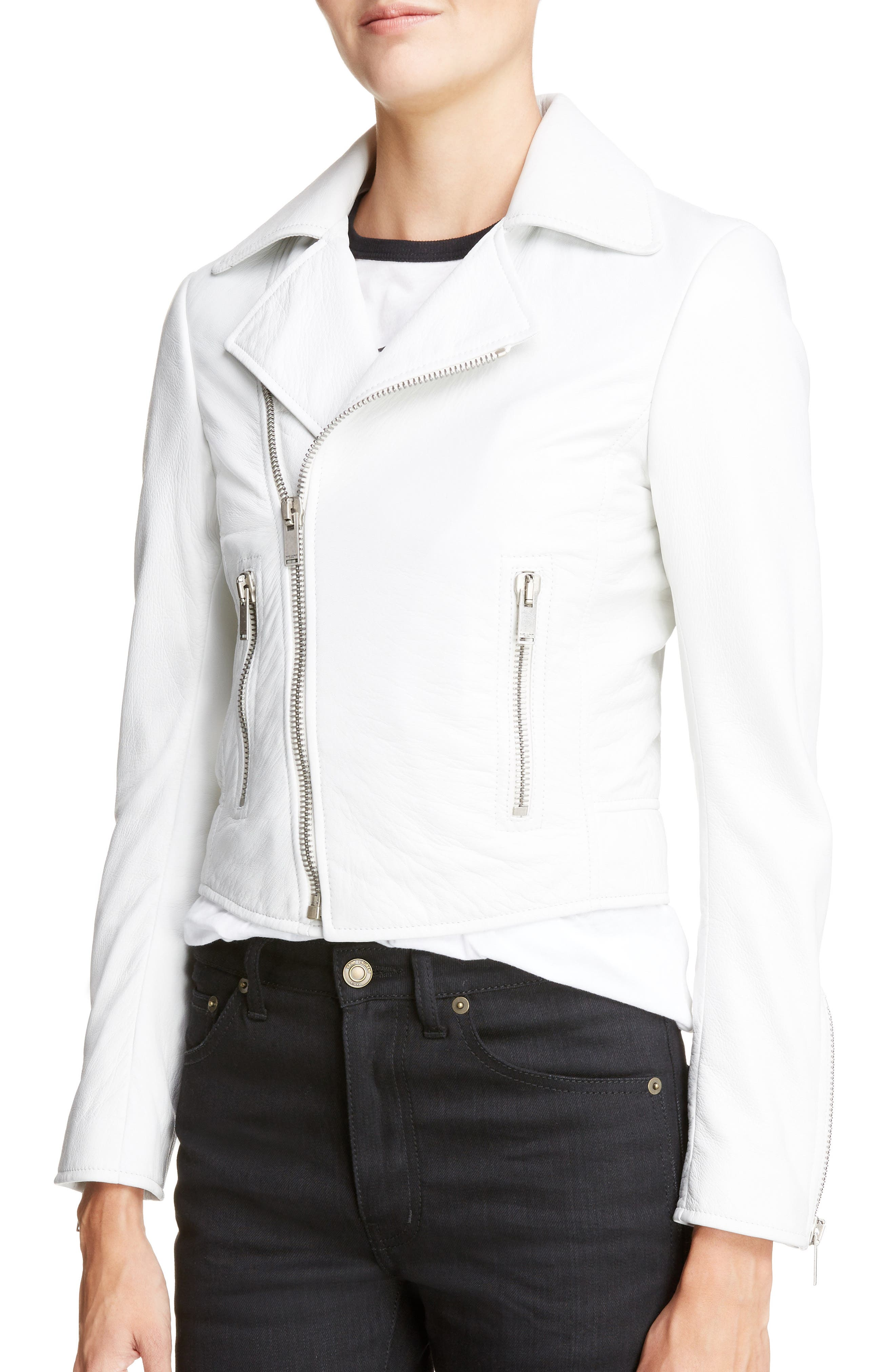 Leather Moto Jacket,                             Alternate thumbnail 4, color,                             135