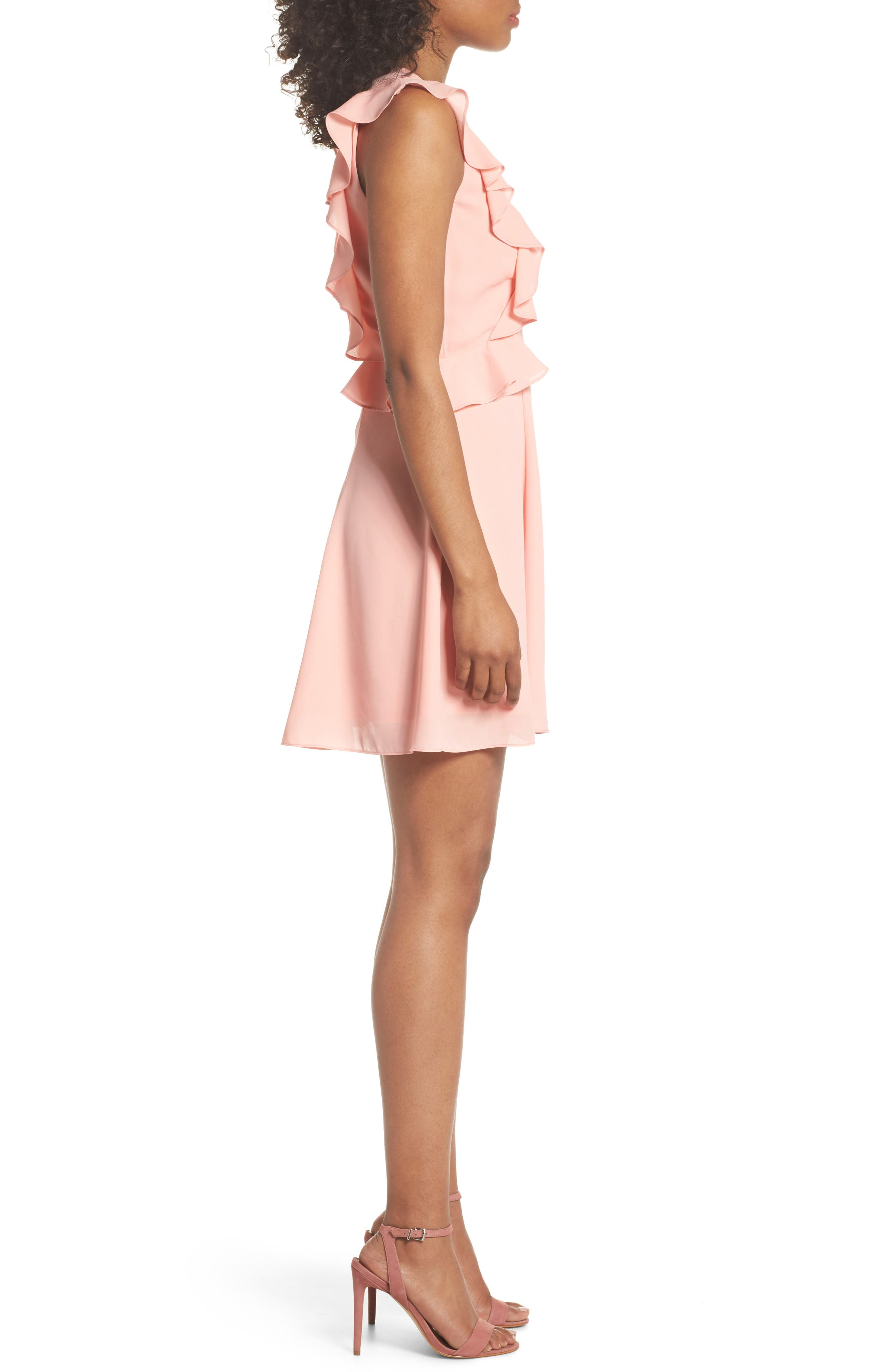 Lila Ruffle Trim Crepe Dress,                             Alternate thumbnail 3, color,                             650