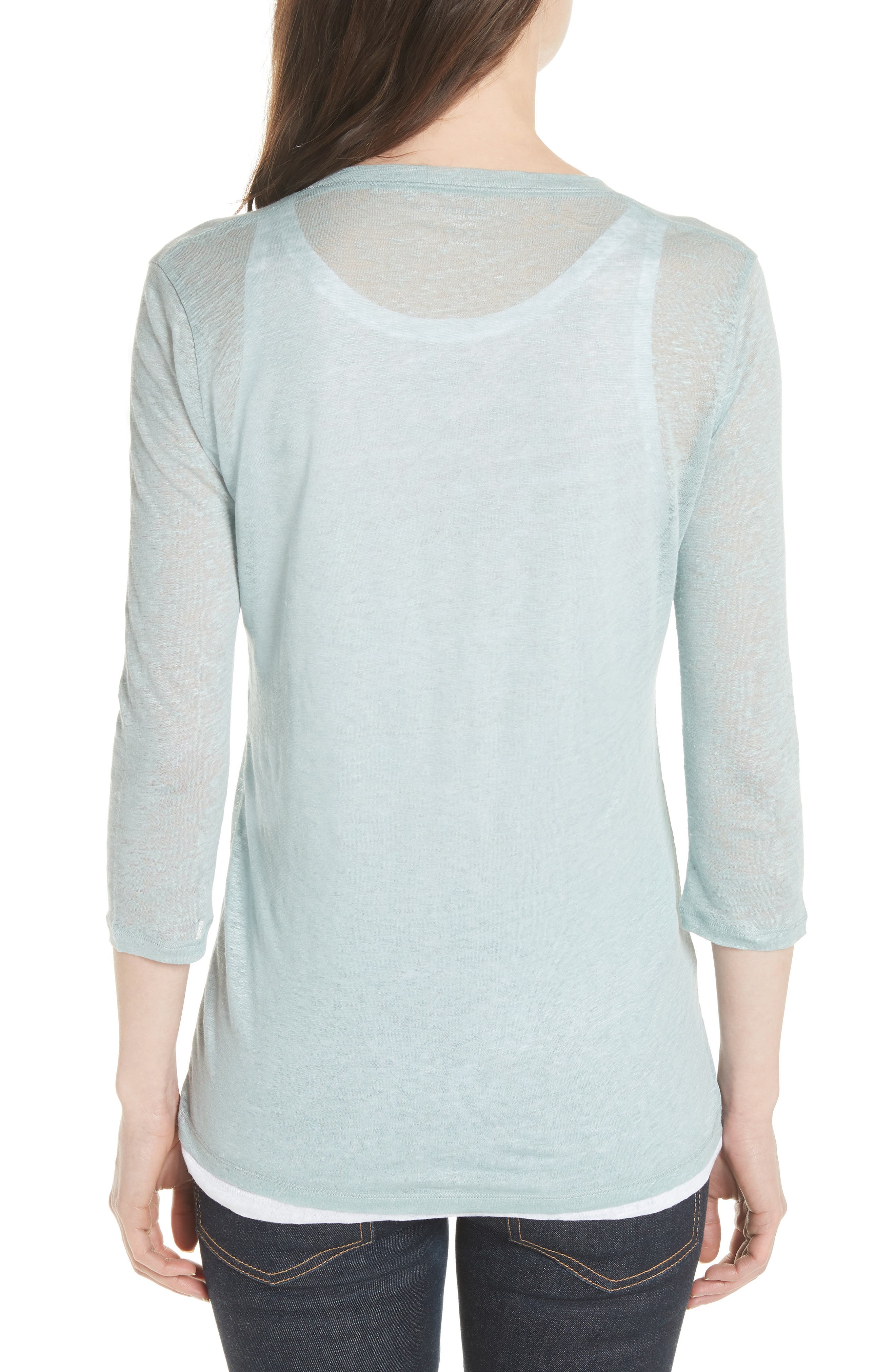 Double Layer Henley Top,                             Alternate thumbnail 2, color,                             ECUME/ BLANC