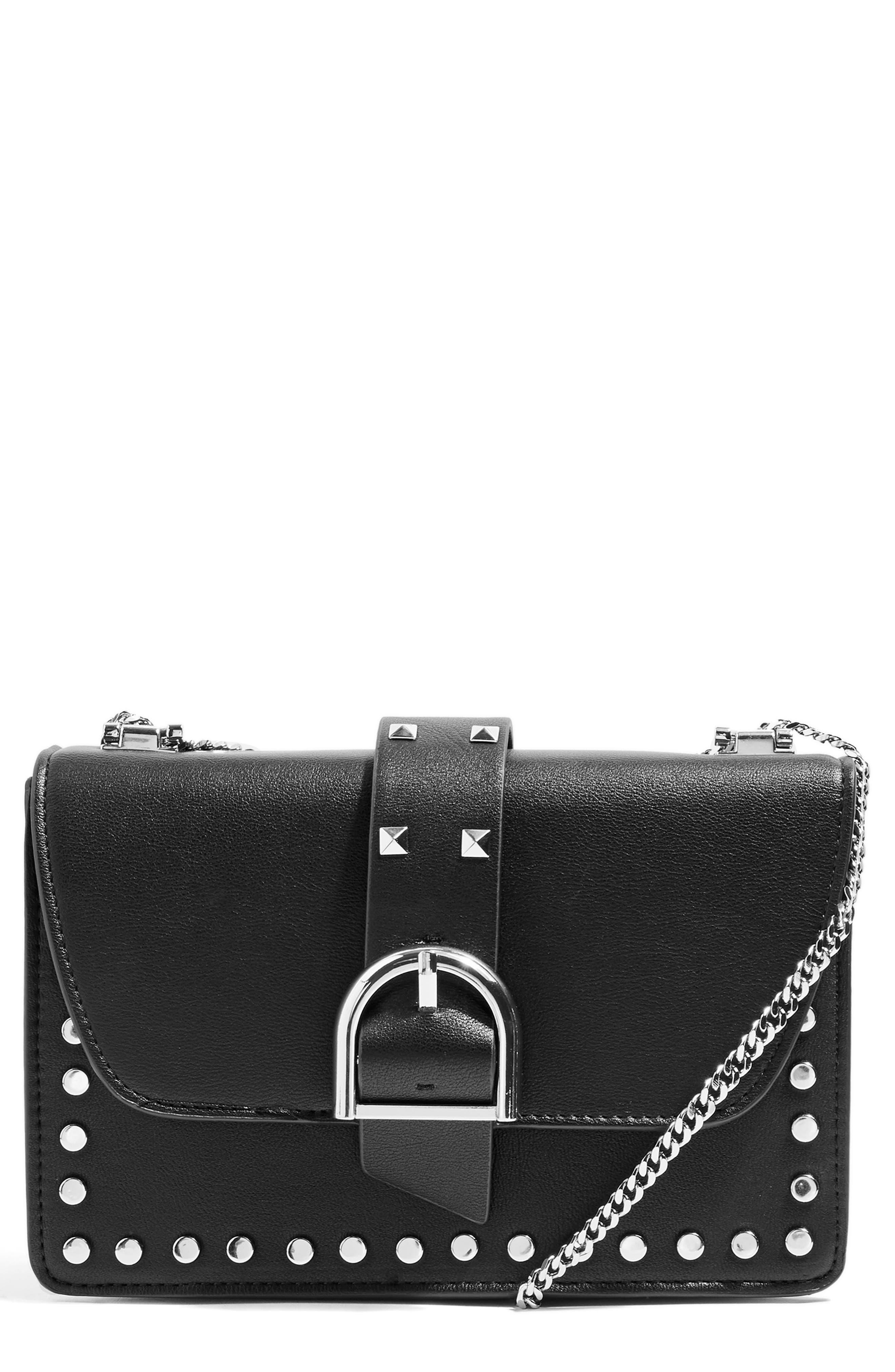 Buckle Faux Leather Crossbody Bag,                         Main,                         color, BLACK