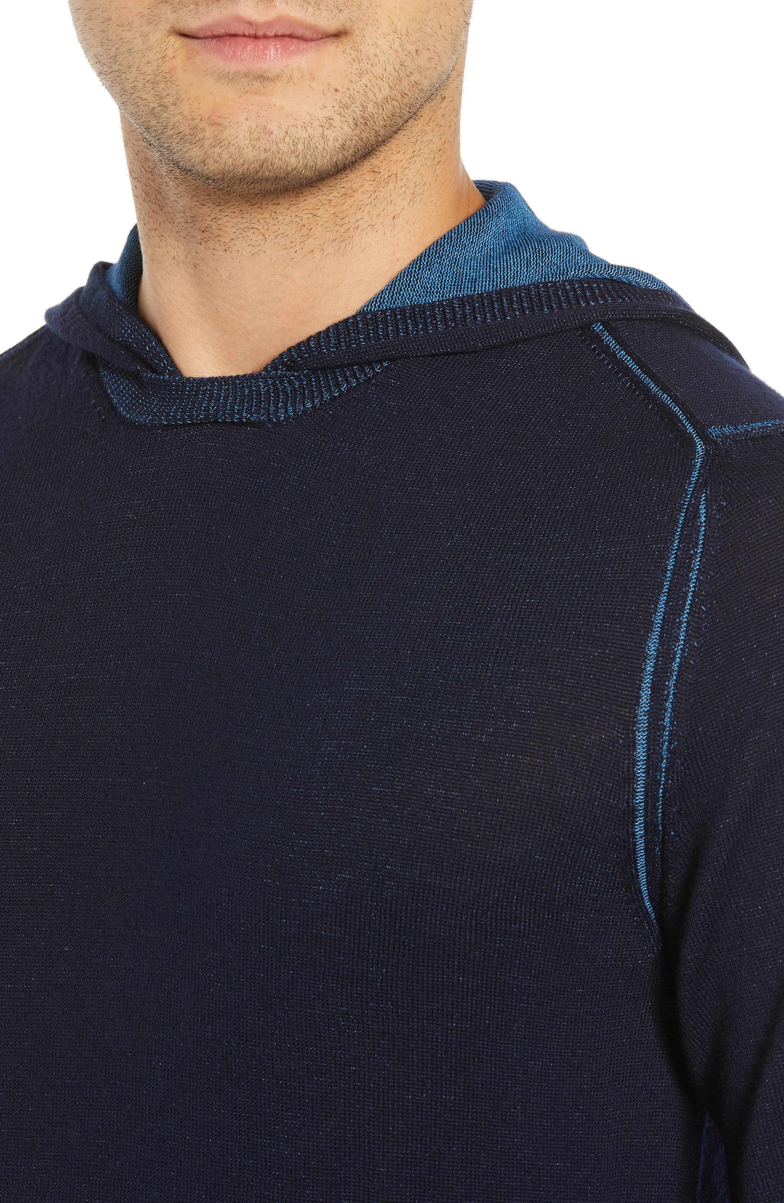 Hooded Pullover Sweater,                             Alternate thumbnail 4, color,                             NIGHT BLUE