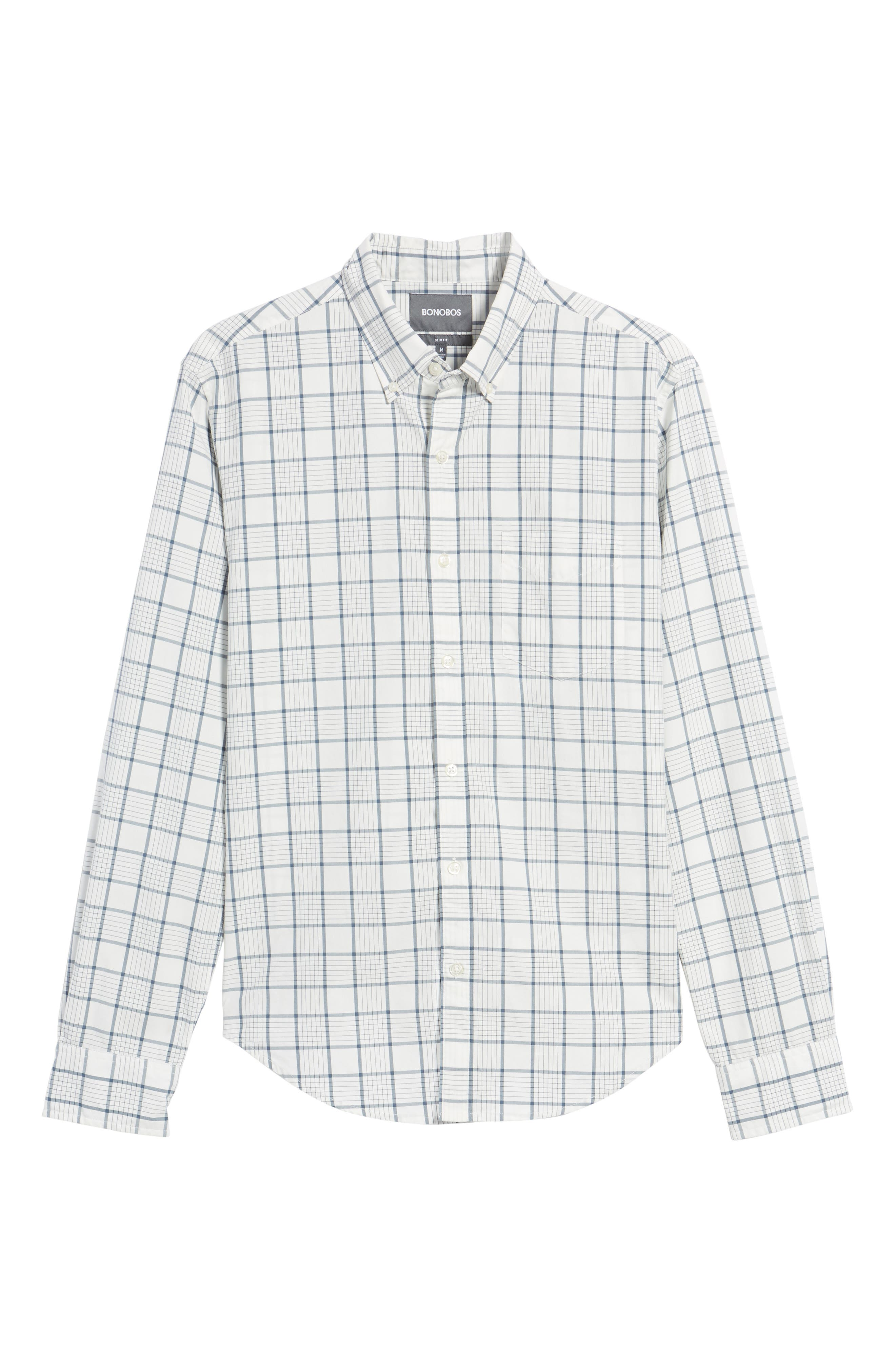 Slim Fit Washed Plaid Sport Shirt,                             Alternate thumbnail 6, color,                             100