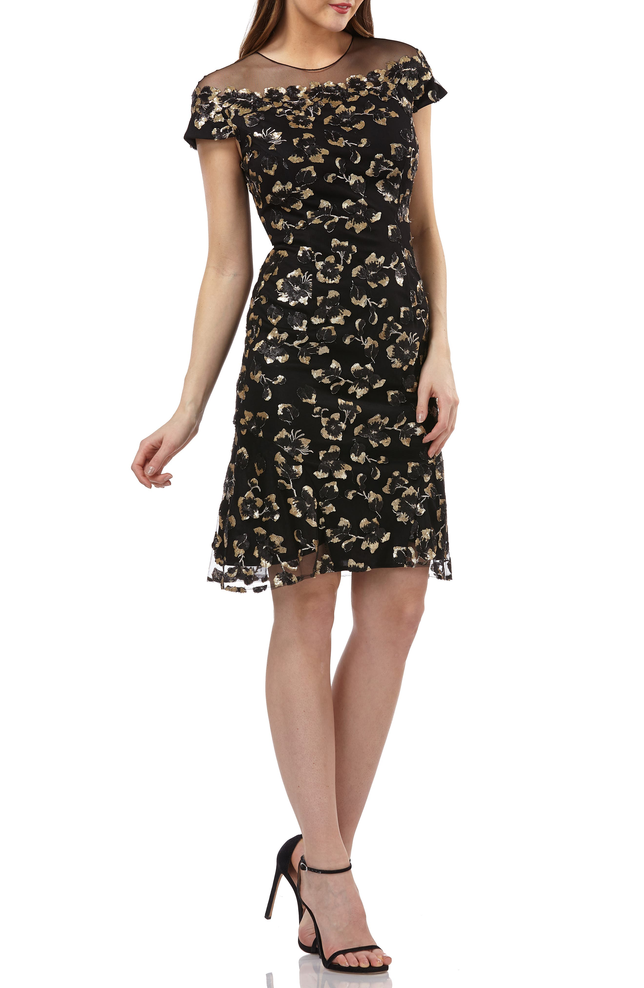 CARMEN MARC VALVO INFUSION Sequin Floral Illusion Yoke Cocktail Dress in Black/ Gold