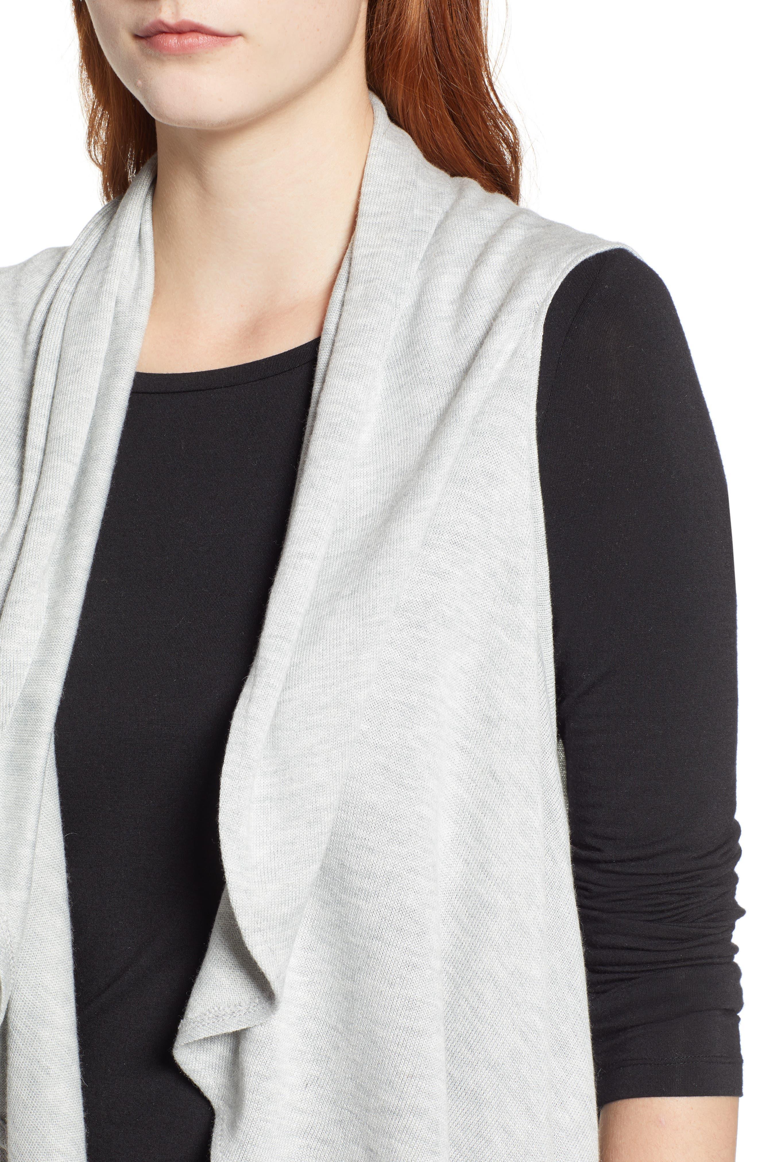 Essential Knit Vest,                             Alternate thumbnail 4, color,                             GREY SOFT HEATHER