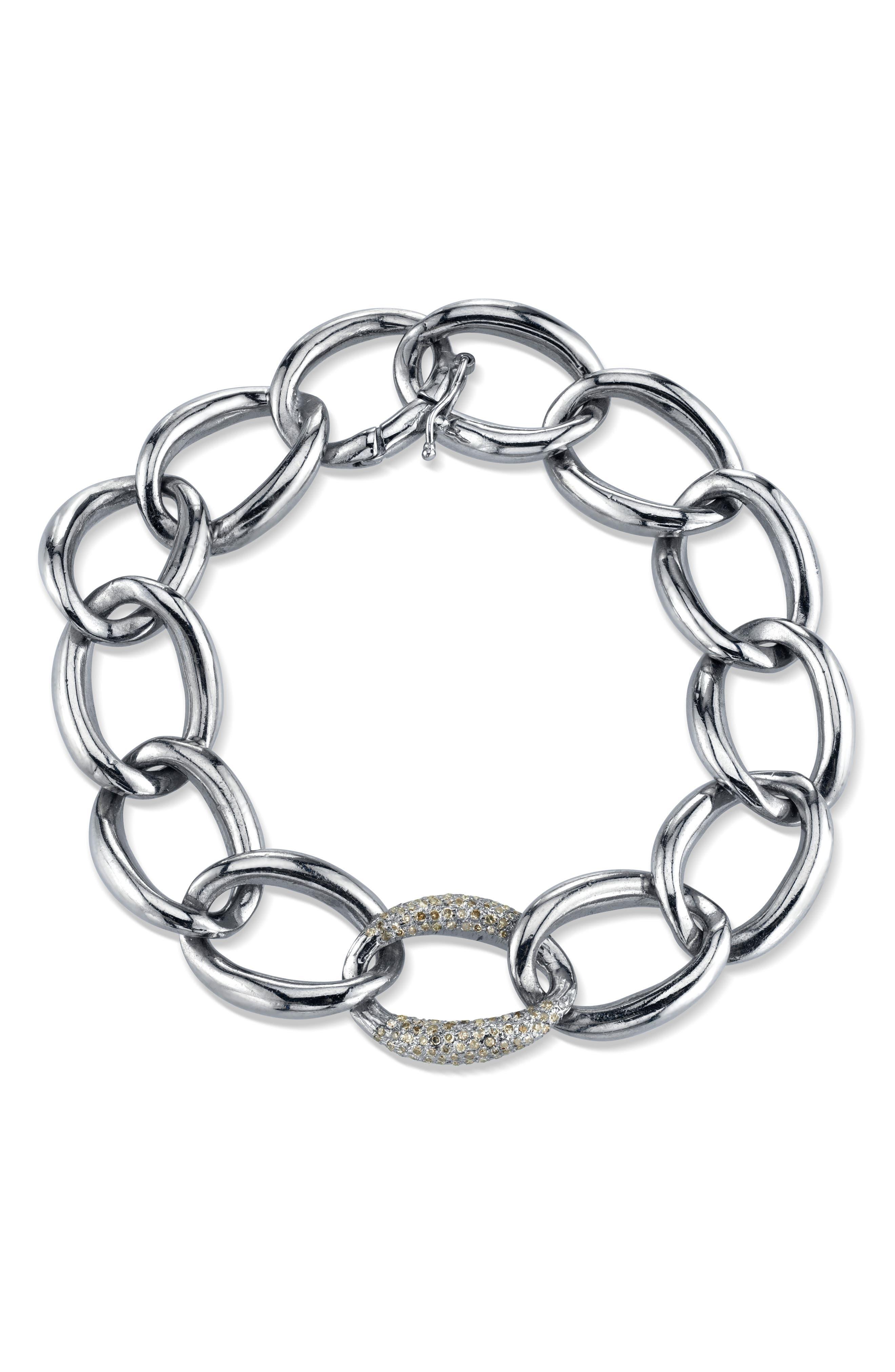 London Sterling & Diamond Link Bracelet in Sterling Silver