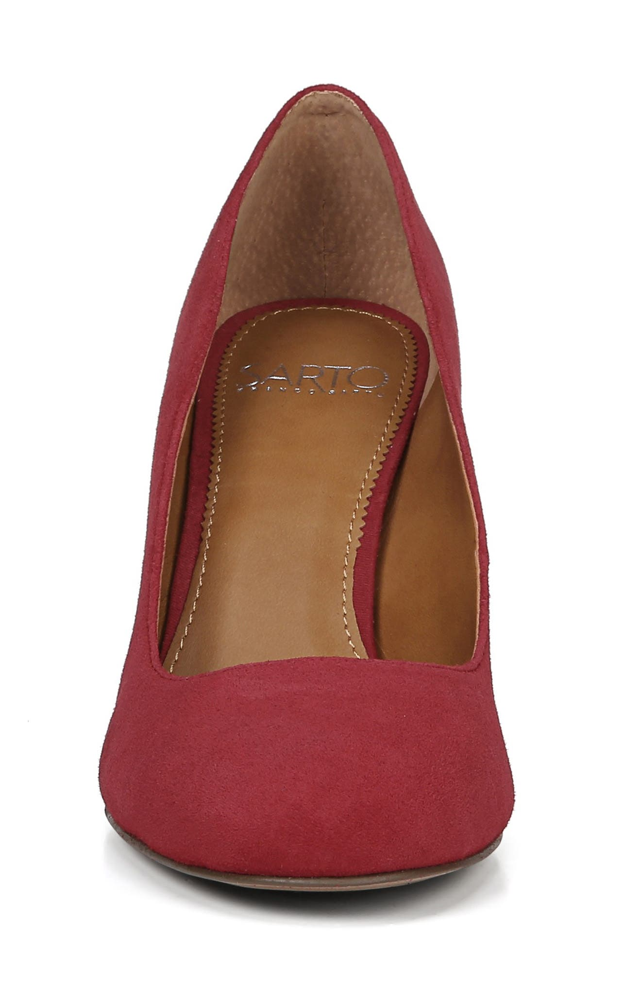 SARTO BY FRANCO SARTO,                             Aziza Block Heel Pump,                             Alternate thumbnail 4, color,                             CHERRY RED SUEDE